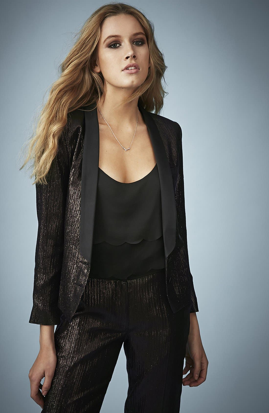 Main Image - Kate Moss for Topshop Lamé Tuxedo Jacket
