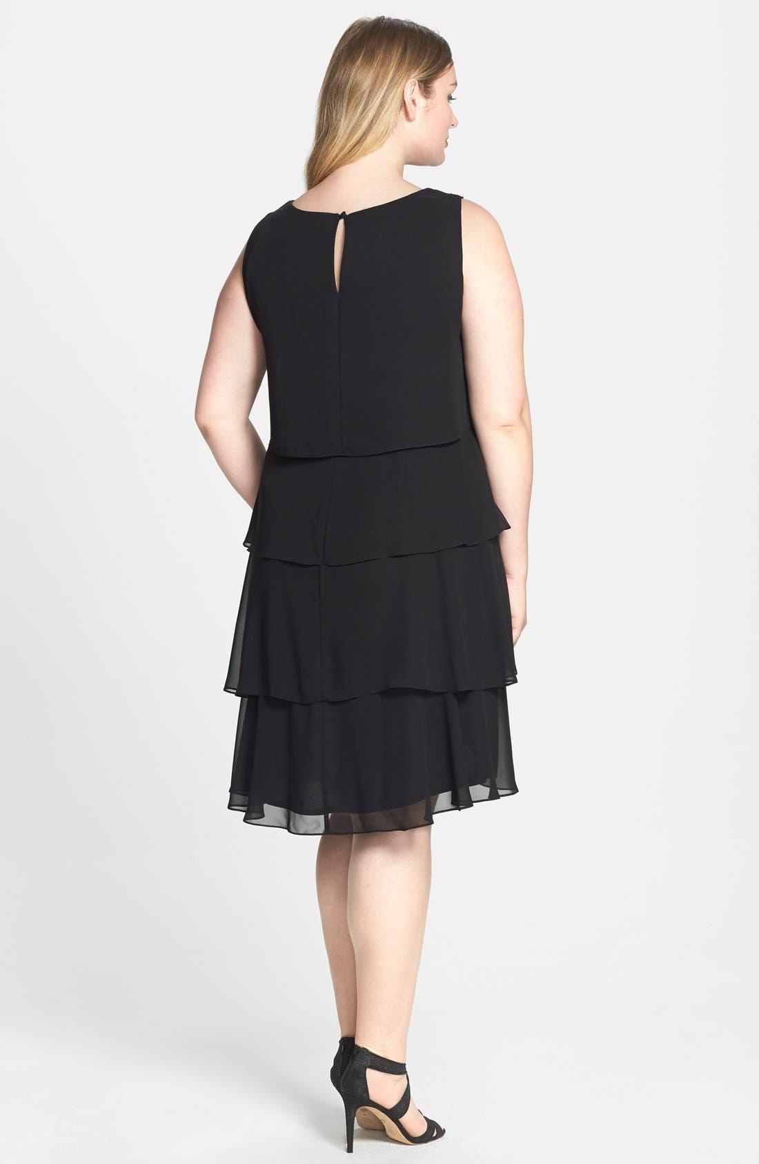 Alternate Image 2  - Xscape Lace Yoke Tiered Chiffon Cocktail Dress (Plus Size)