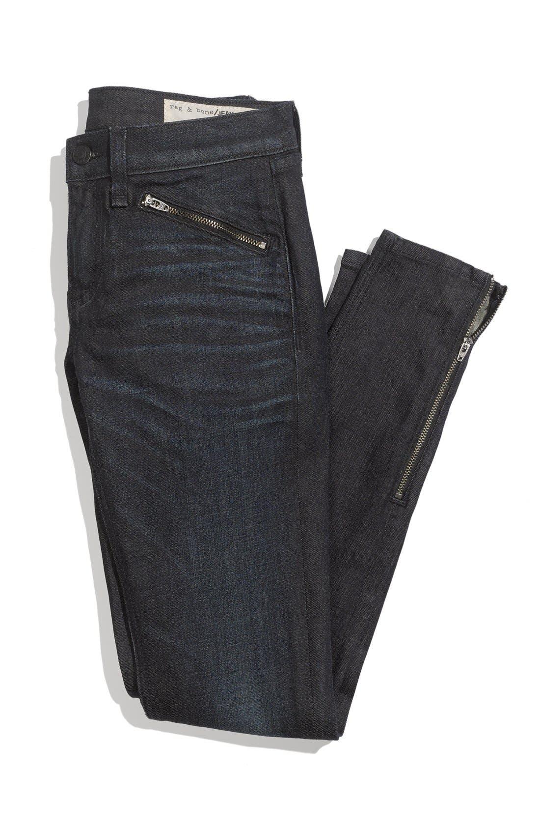 Alternate Image 7  - rag & bone/JEAN Zip Detail Skinny Jeans (Kensington) (Nordstrom Exclusive)