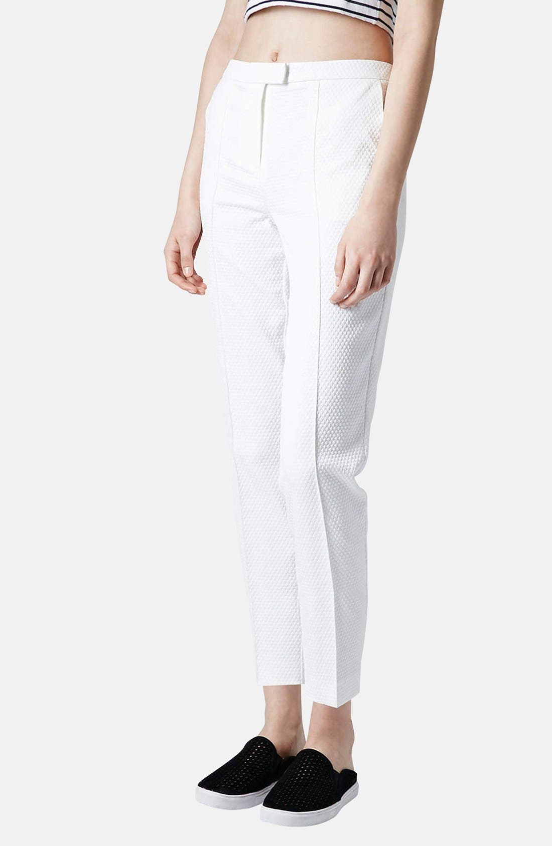 Main Image - Topshop Textured Cigarette Pants