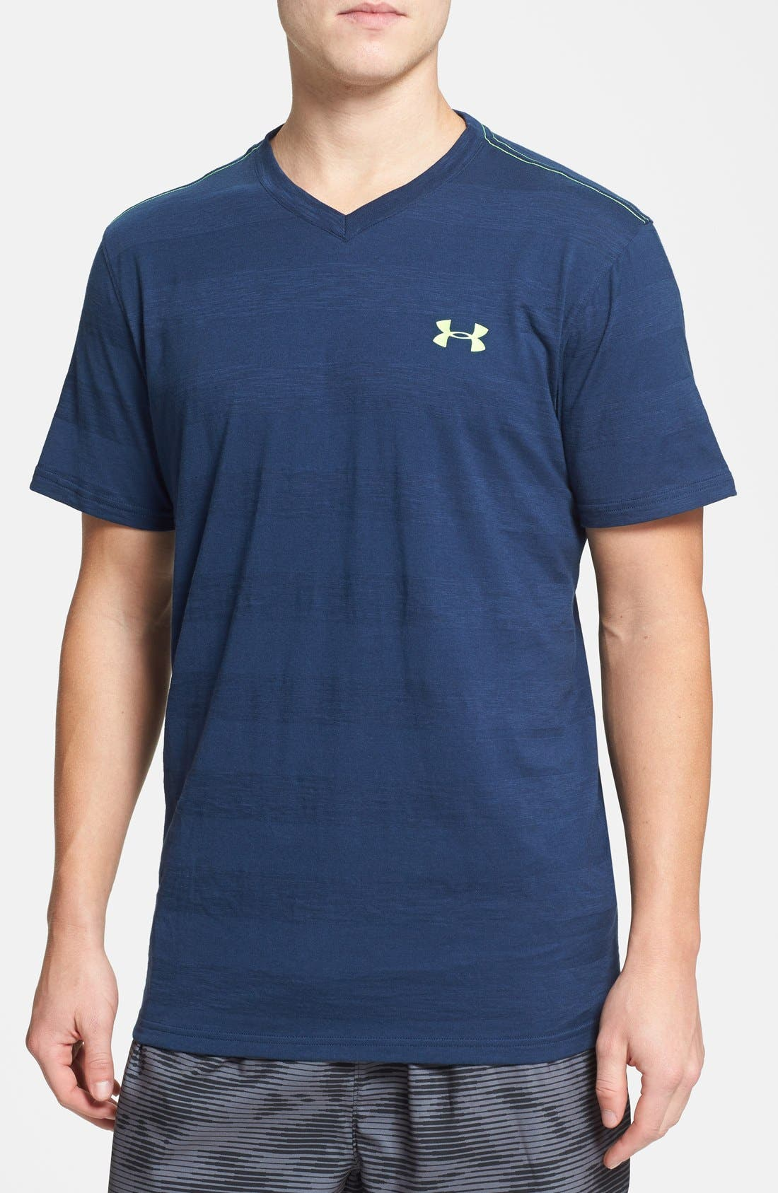 Main Image - Under Armour Charged Cotton® Stripe V-Neck T-Shirt