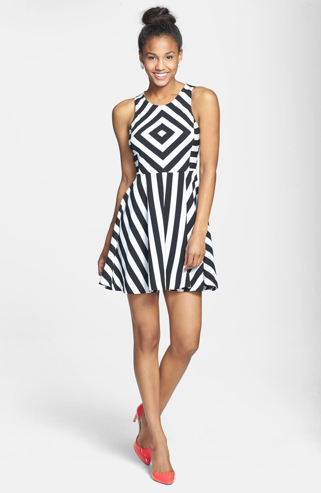Alternate Image 3  - Cream and Sugar Stripe Fit & Flare Dress (Juniors)