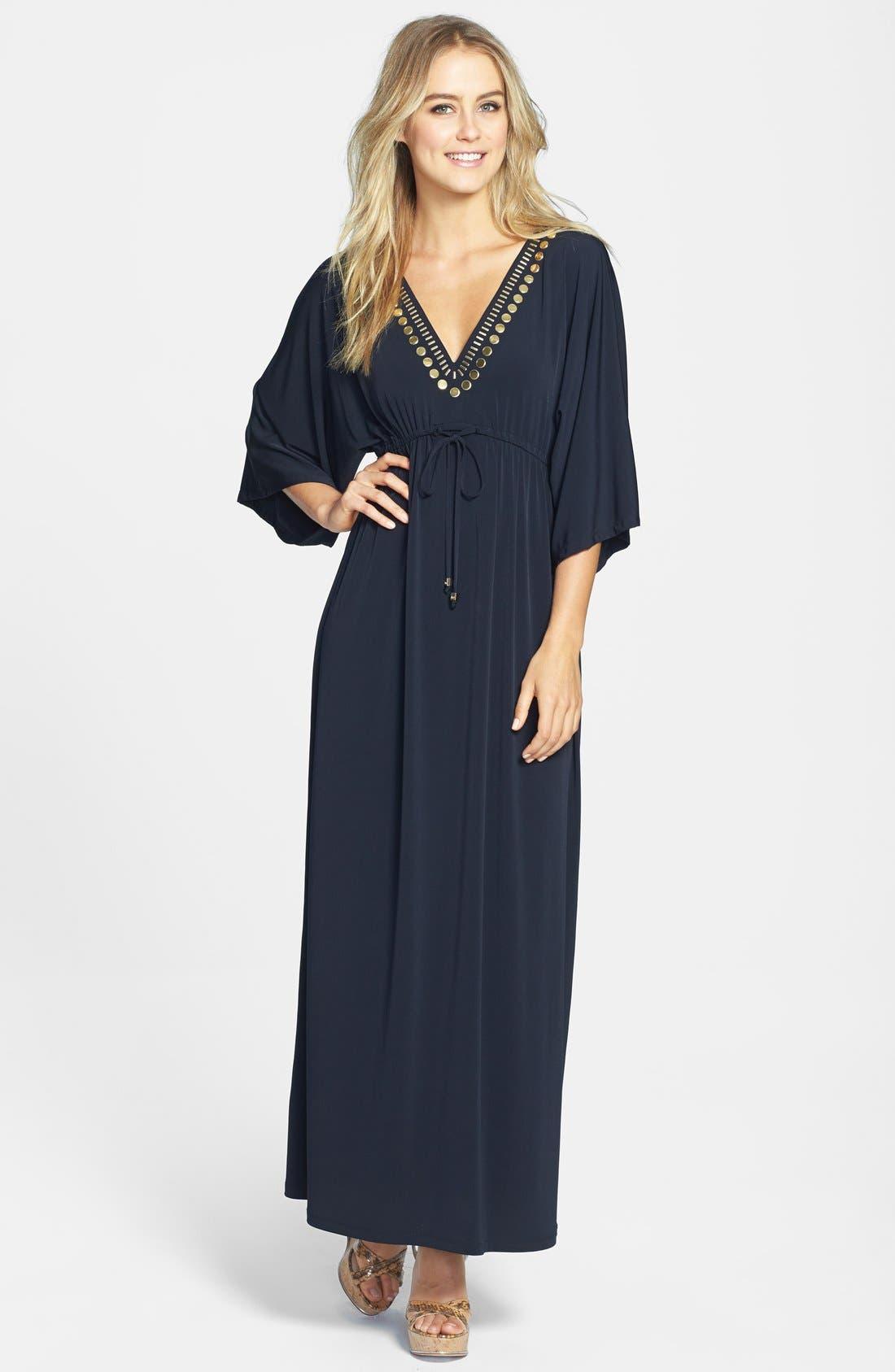 Alternate Image 1 Selected - MICHAEL Michael Kors Embellished V-Neck Maxi Dress