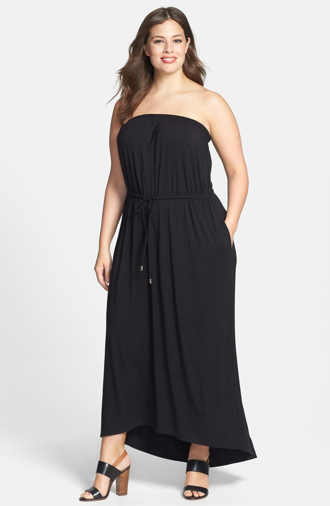 Alternate Image 1 Selected - Sejour Strapless Jersey Maxi Dress (Plus Size)