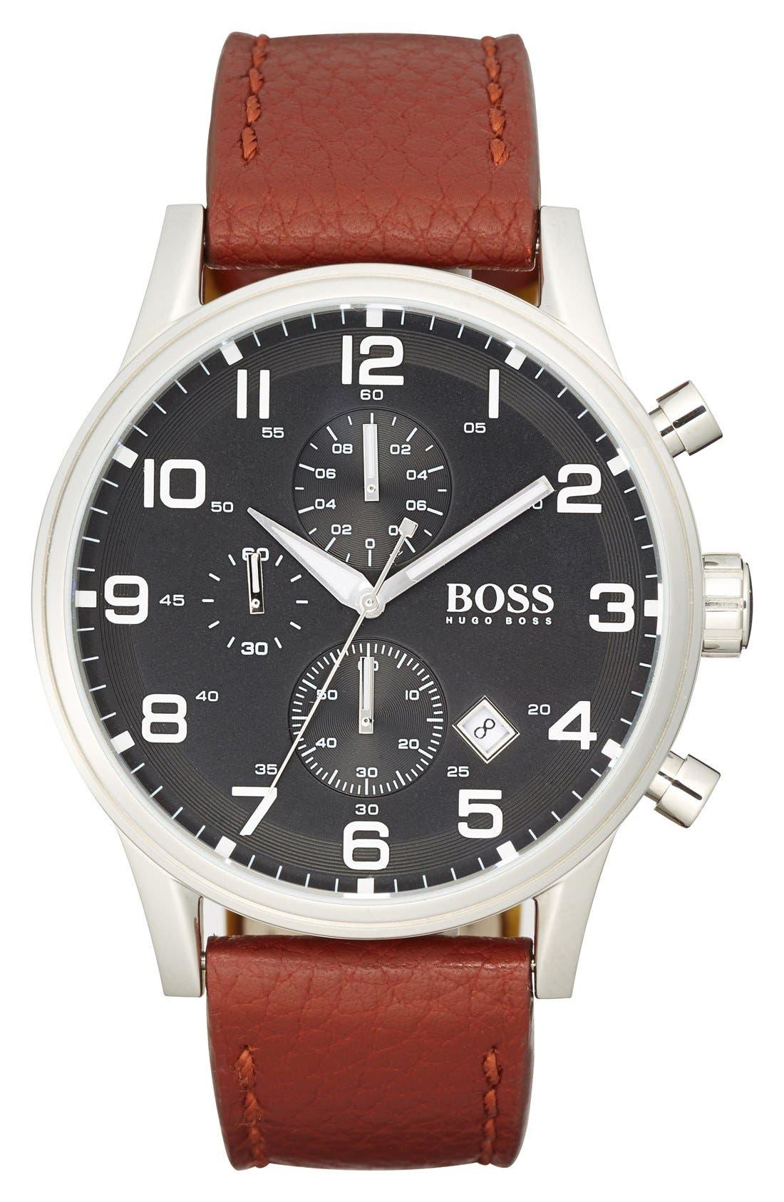 Main Image - BOSS 'Aviator' Chronograph Leather Strap Watch, 44mm