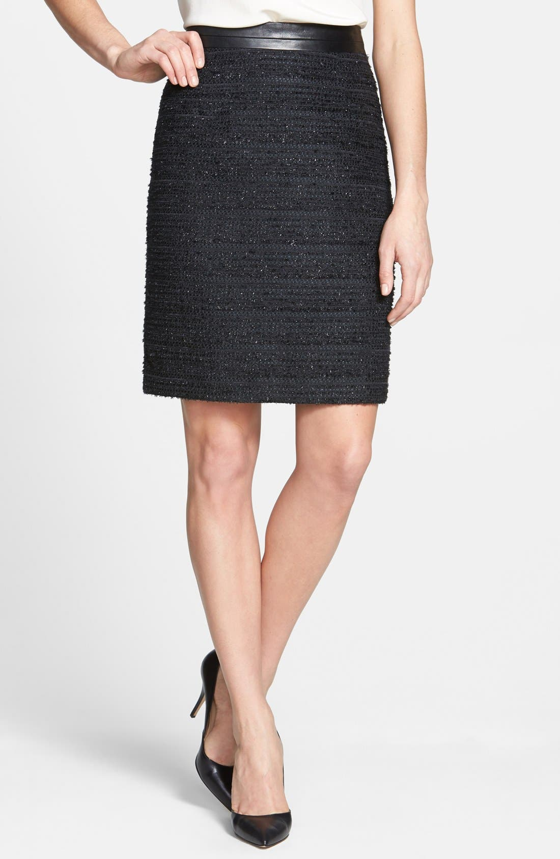 Main Image - Milly Metallic Tweed & Leather Pencil Skirt