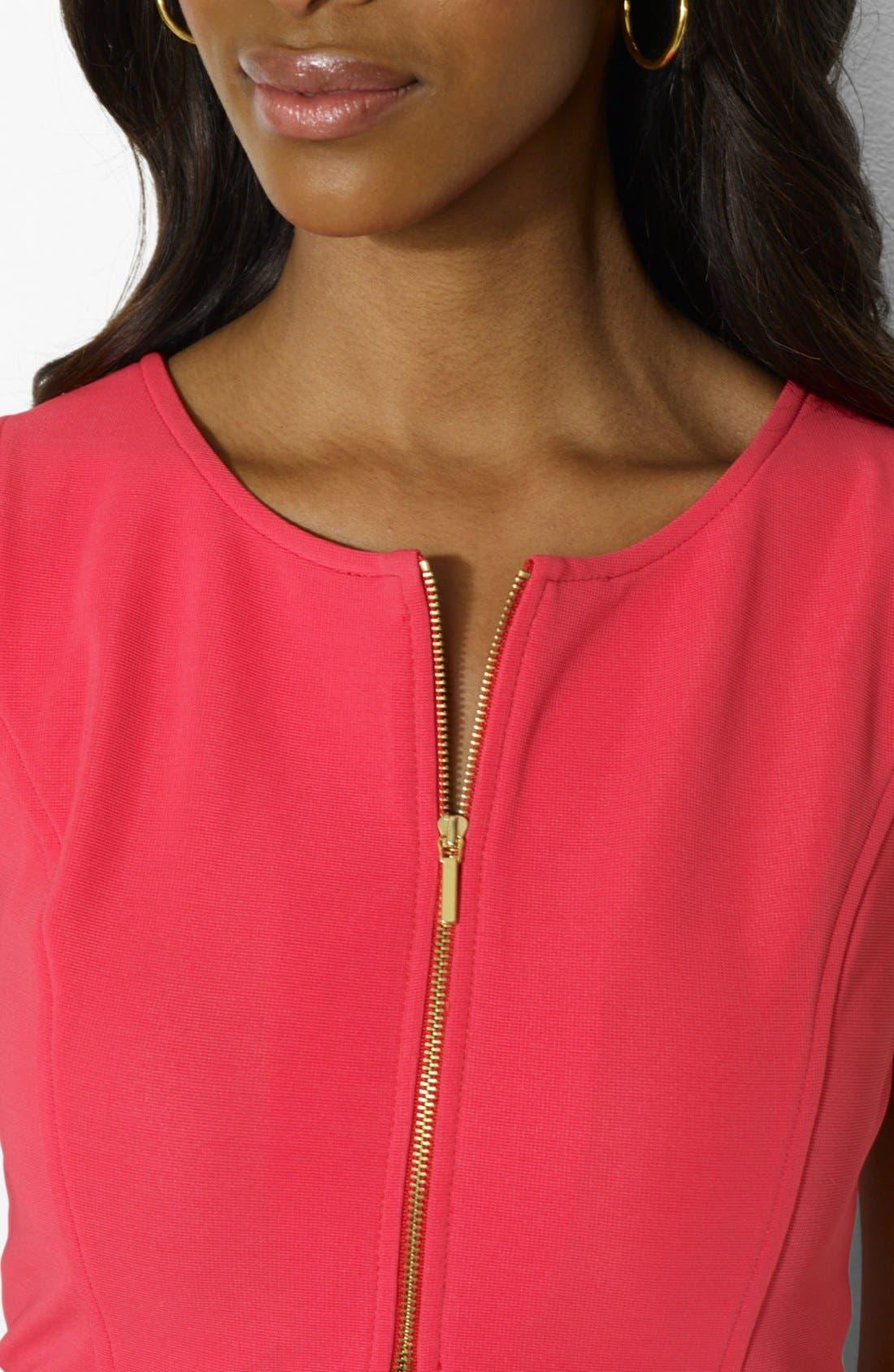 Alternate Image 4  - Lauren Ralph Lauren Front Zip Shift Dress (Petite)