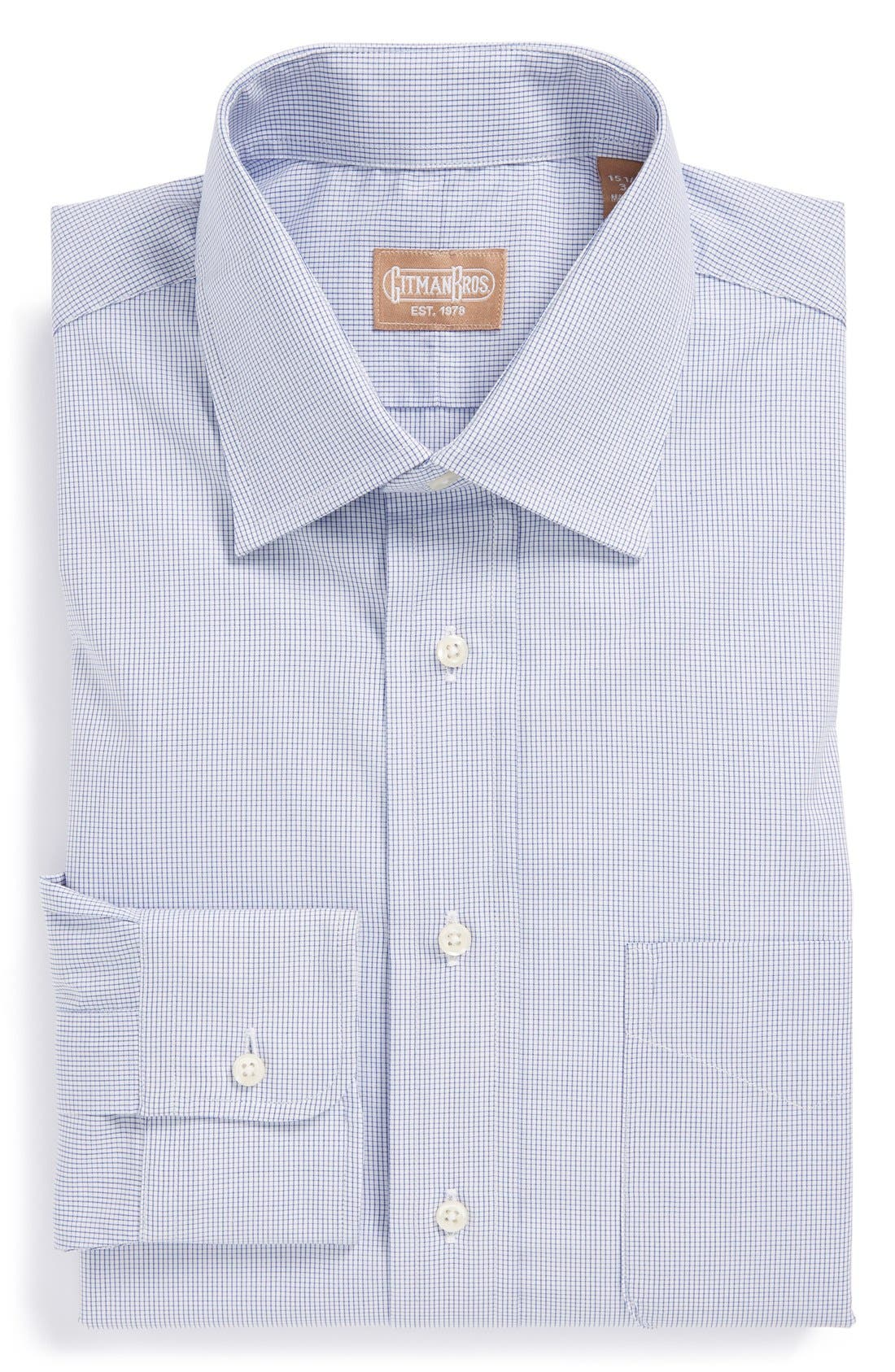 Alternate Image 1 Selected - Gitman Regular Fit Mini Check Cotton English Spread Collar Dress Shirt