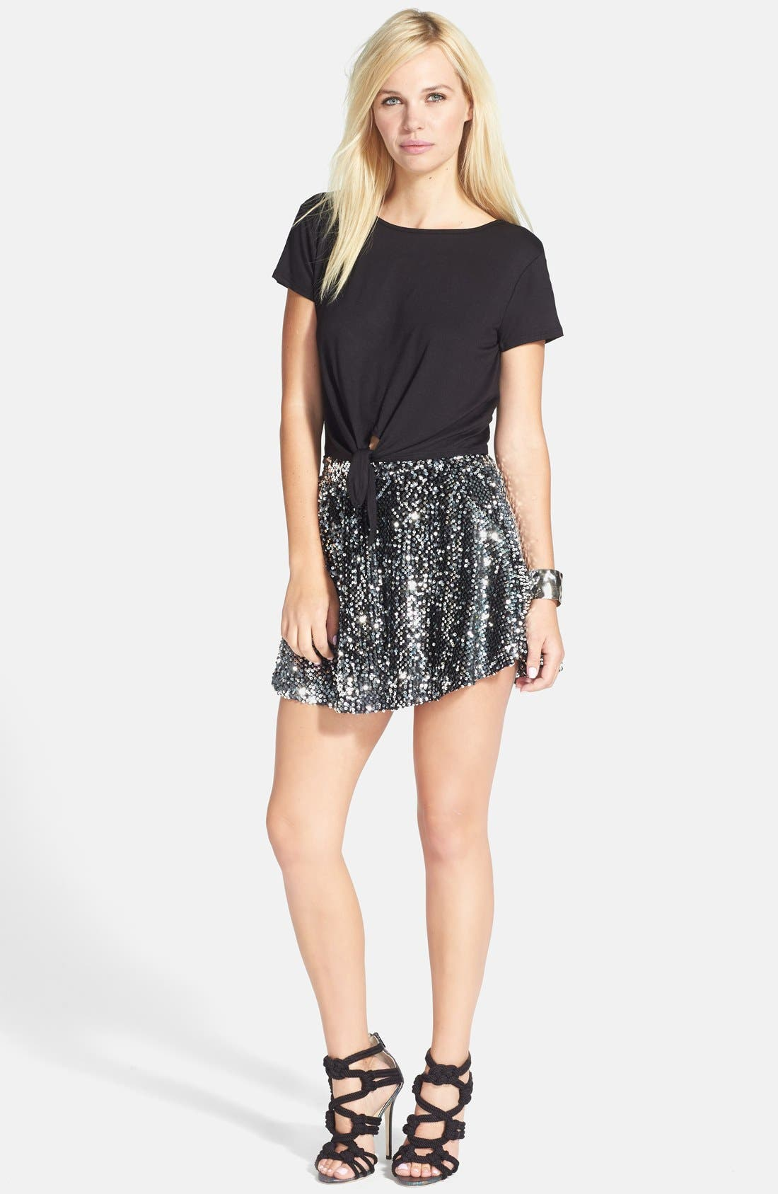 Alternate Image 4  - JOA Sequin Skater Skirt