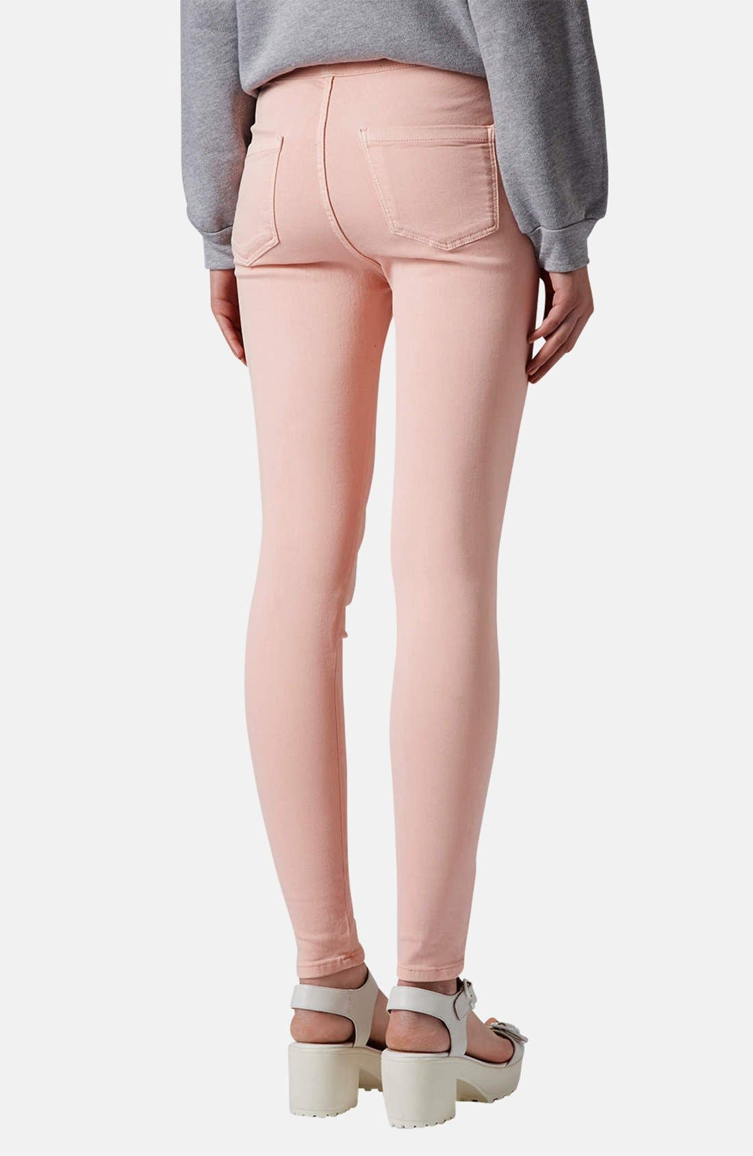 Alternate Image 2  - Topshop Moto 'Joni' High Waist Skinny Jeans (Light Pink)