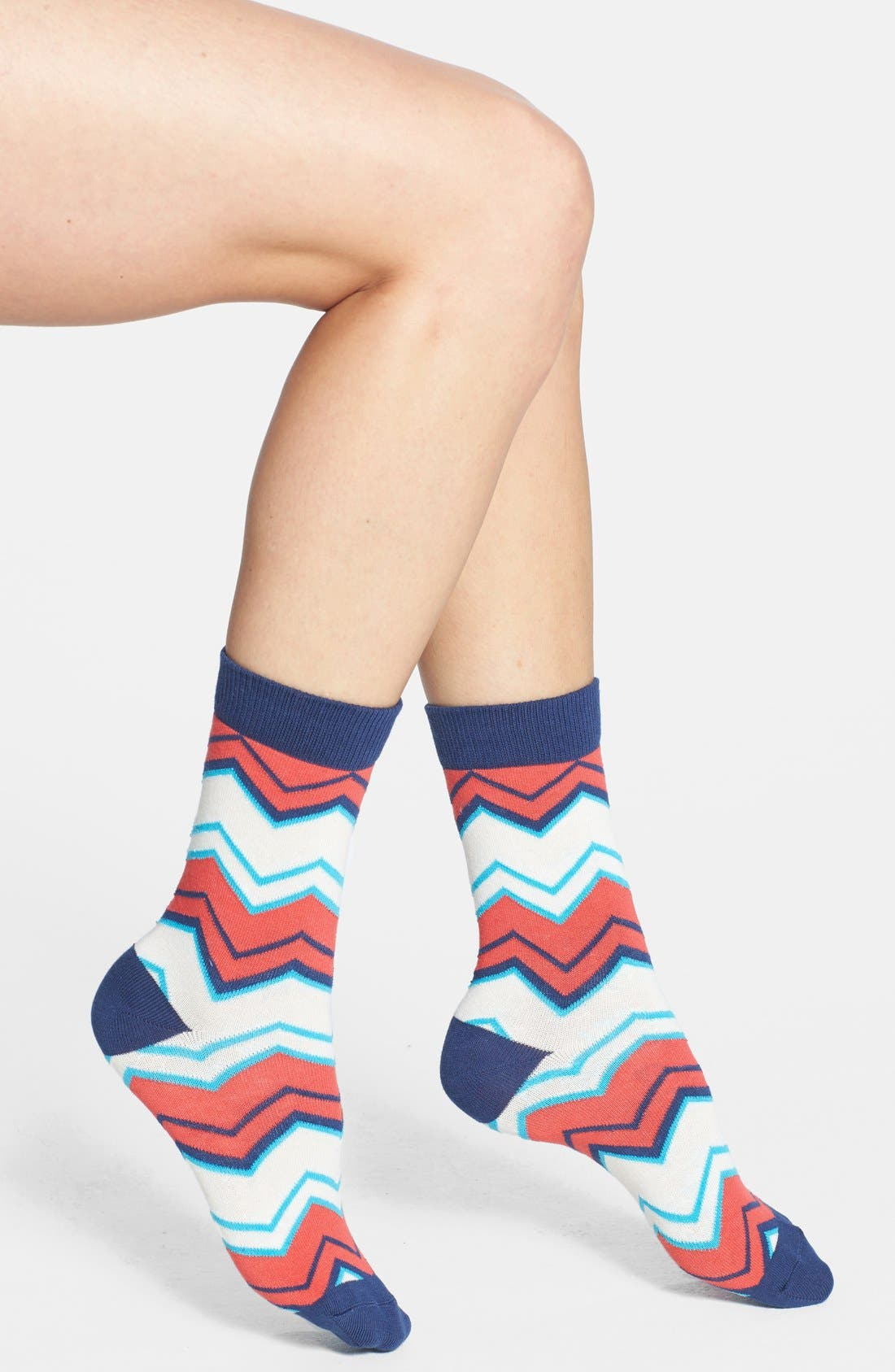 Alternate Image 1 Selected - Pact 'Watermelon Mountain' Organic Cotton Crew Socks