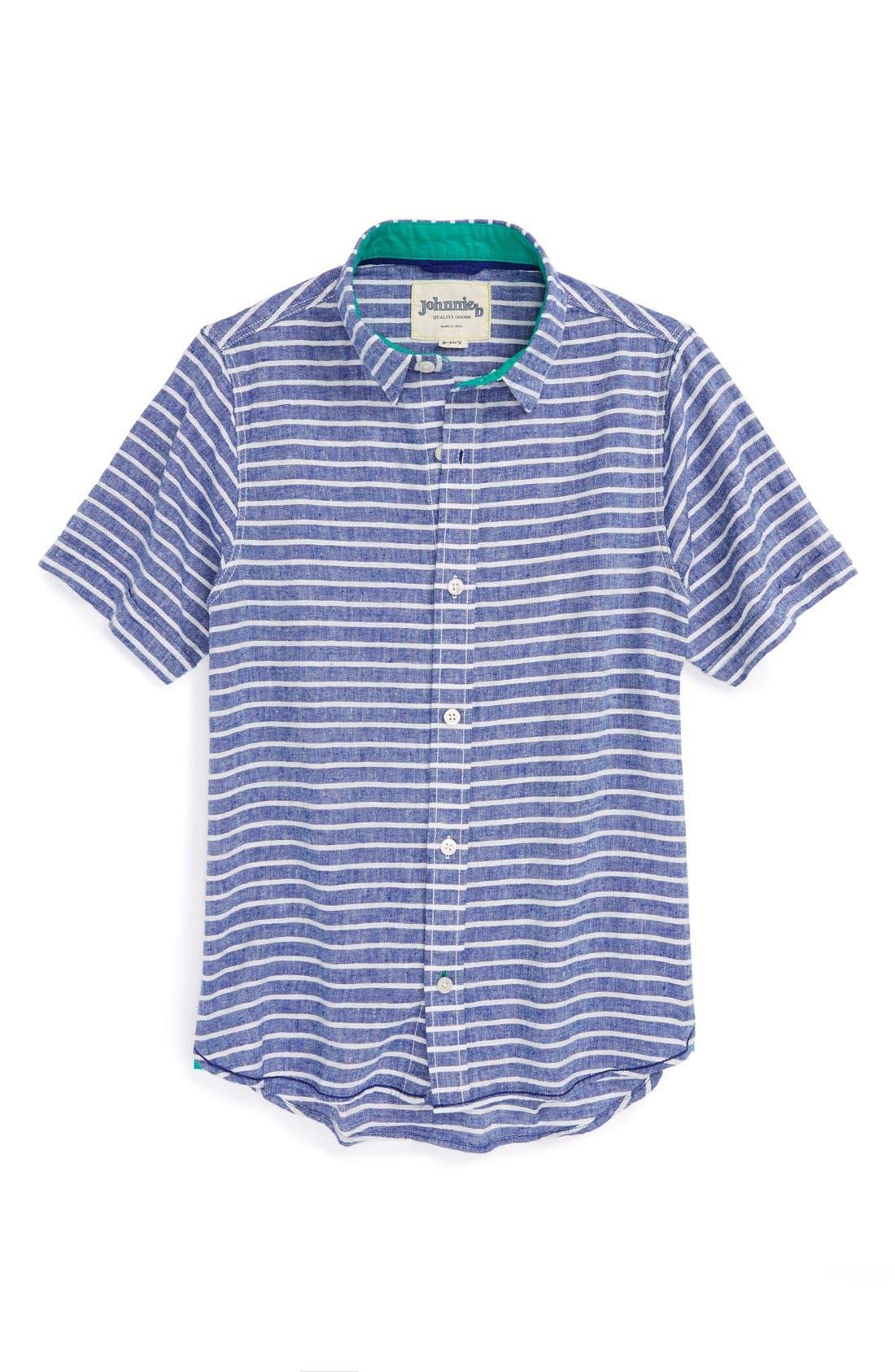 Main Image - Johnnie B by Boden 'Summer' Button Front Linen & Cotton Shirt (Big Boys)