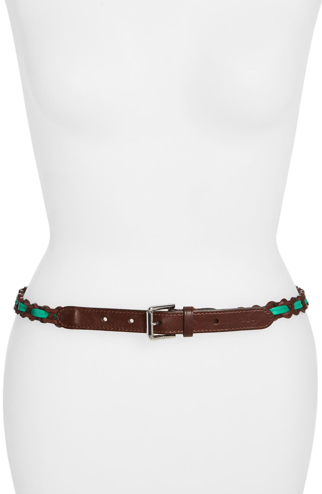 Alternate Image 1 Selected - Lauren Ralph Lauren Braided Leather Belt