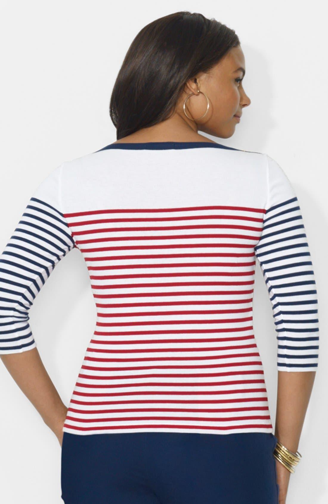 Alternate Image 2  - Lauren Ralph Lauren Contrast Striped Top (Plus Size)