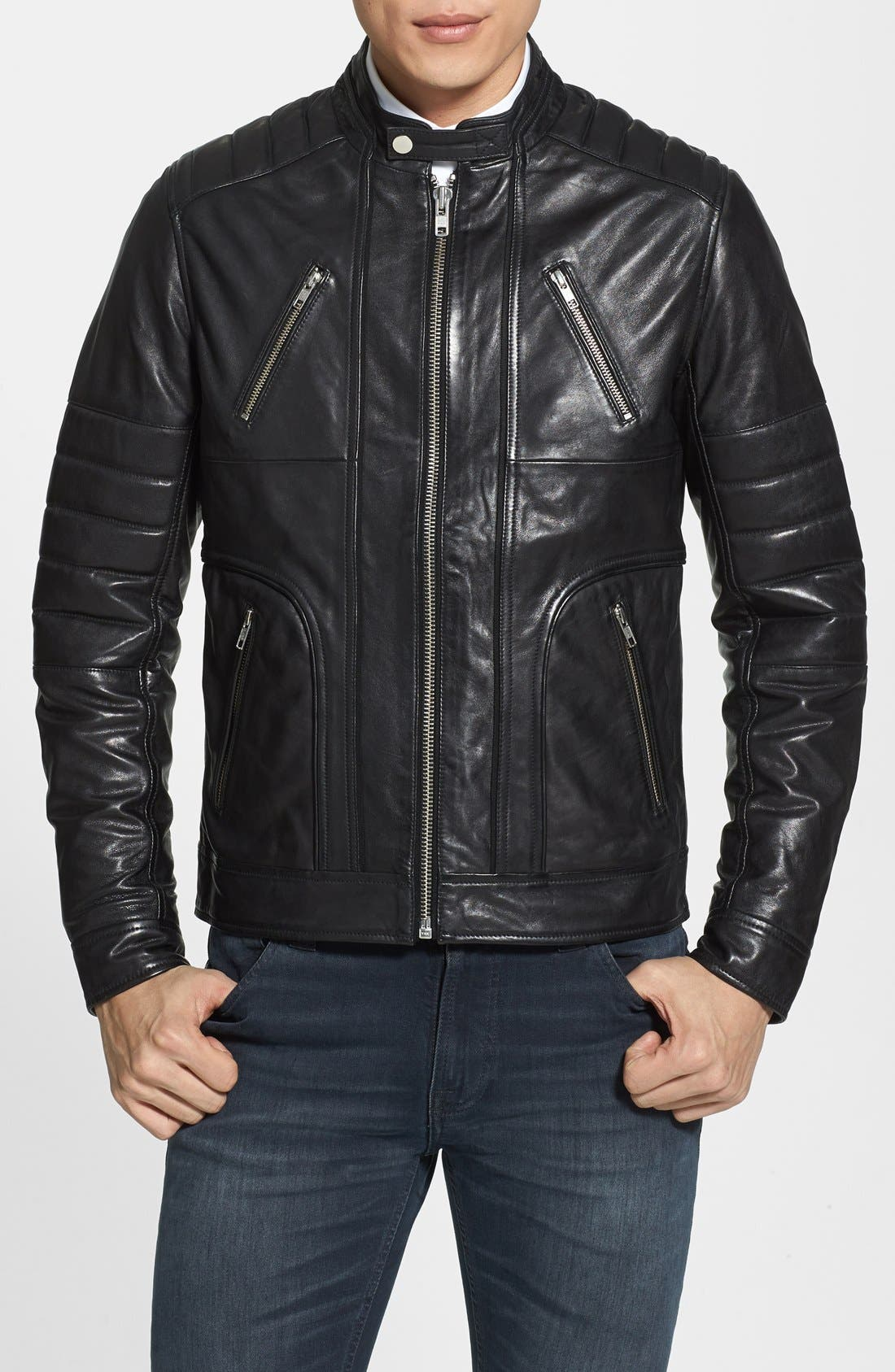 Alternate Image 1 Selected - LAMARQUE Trim Fit Leather Biker Jacket (Online Only)