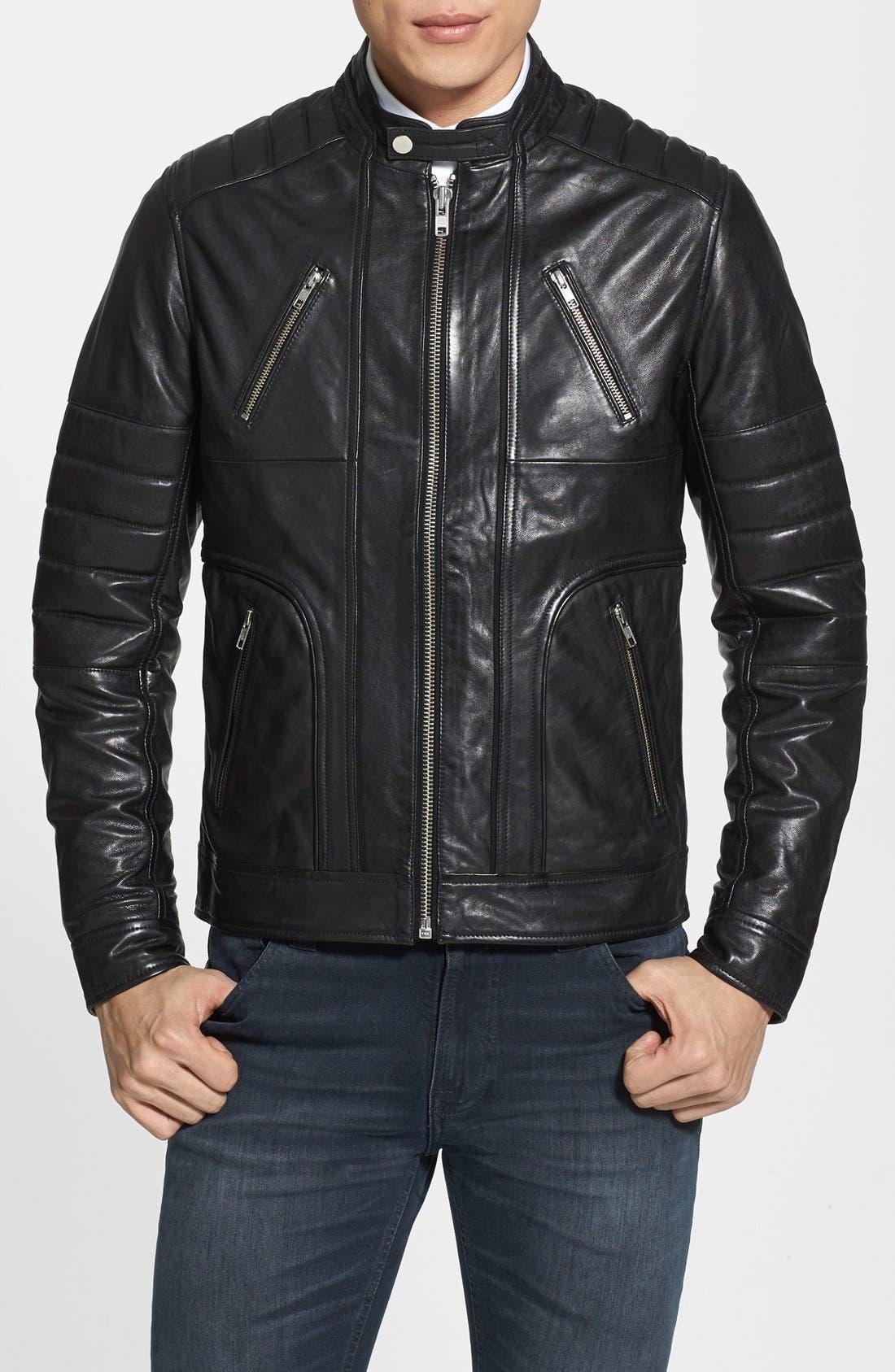 Main Image - LAMARQUE Trim Fit Leather Biker Jacket (Online Only)