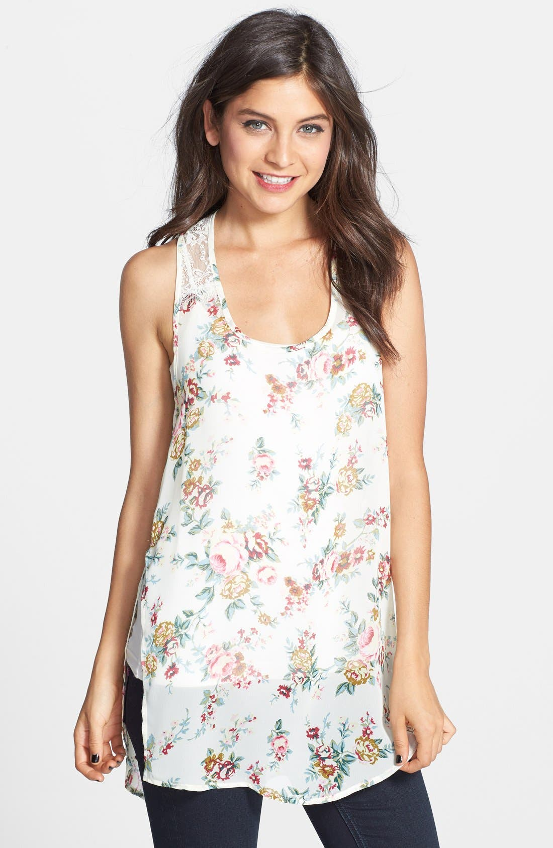 Alternate Image 1 Selected - Frenchi® Lace Trim Woven Tank (Juniors)