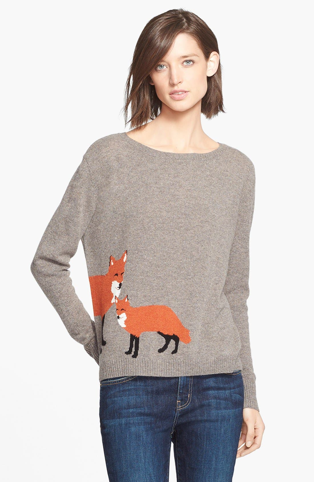 Main Image - autumn cashmere Fox Intarsia Cashmere Sweater (Online Only)
