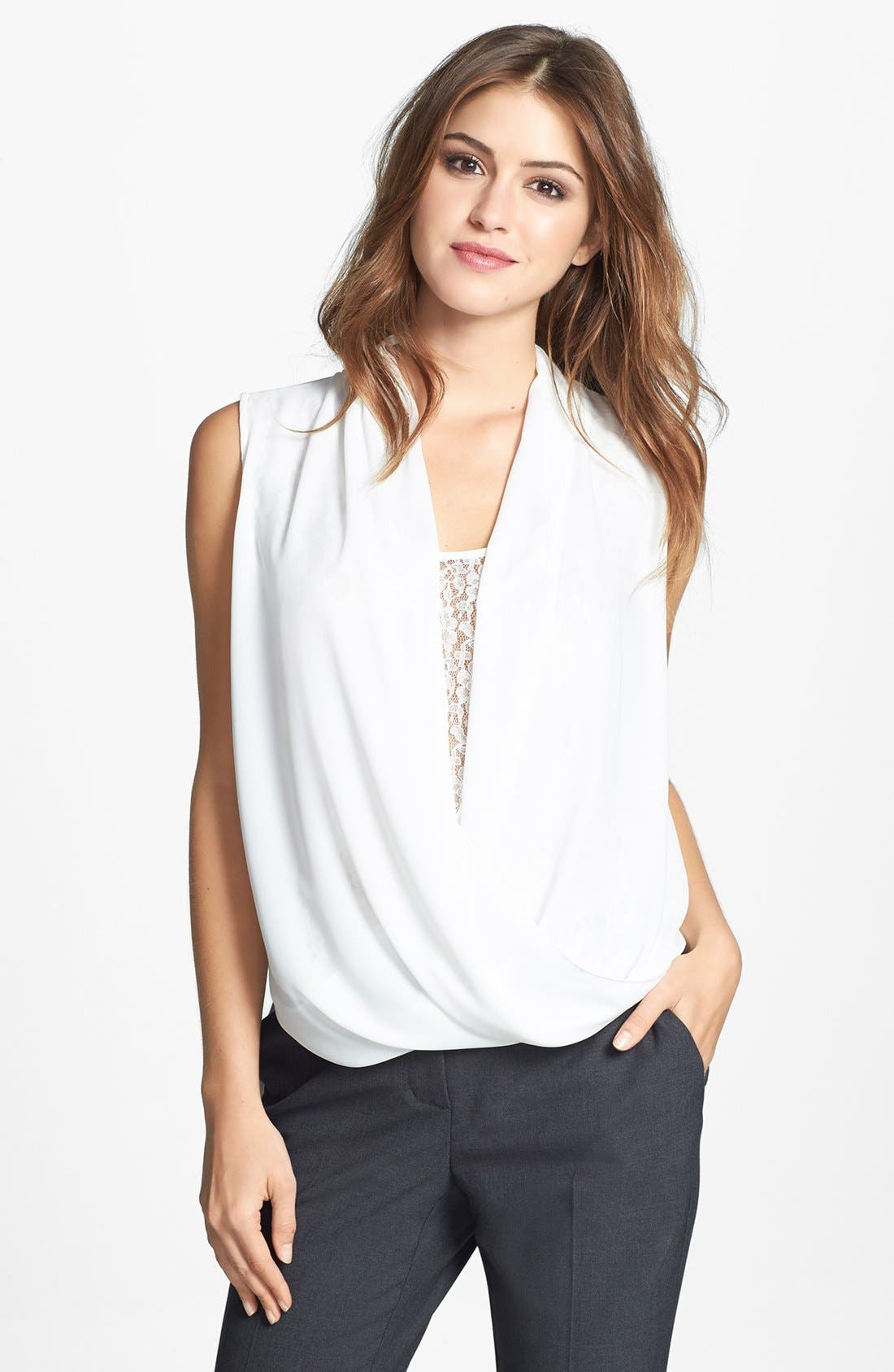 Alternate Image 1 Selected - Vince Camuto Lace Inset Faux Wrap Front Shirttail Blouse