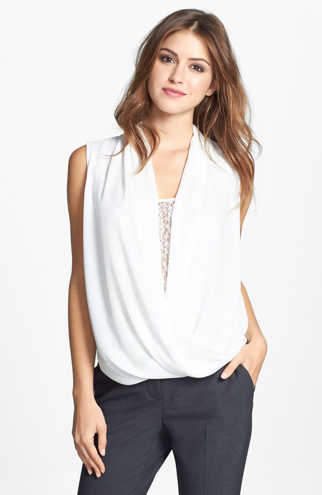 Main Image - Vince Camuto Lace Inset Faux Wrap Front Shirttail Blouse