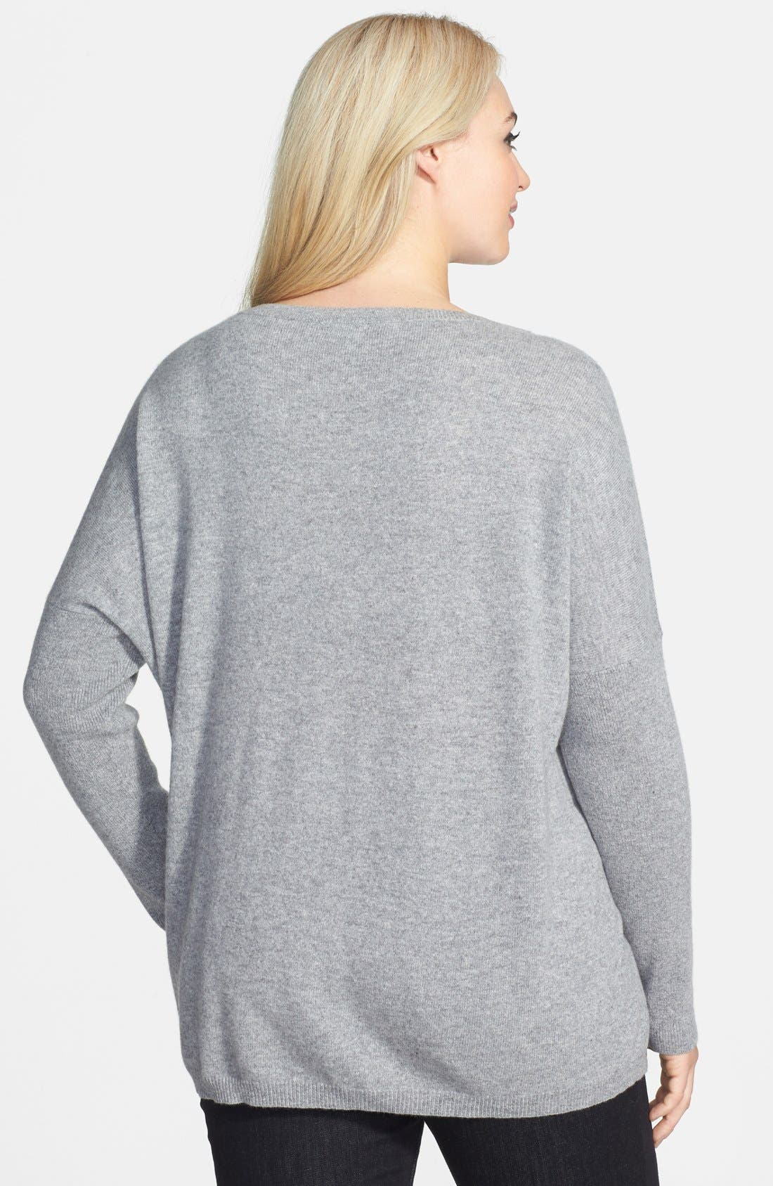 Alternate Image 2  - Halogen® High Low Cashmere Sweater (Plus)