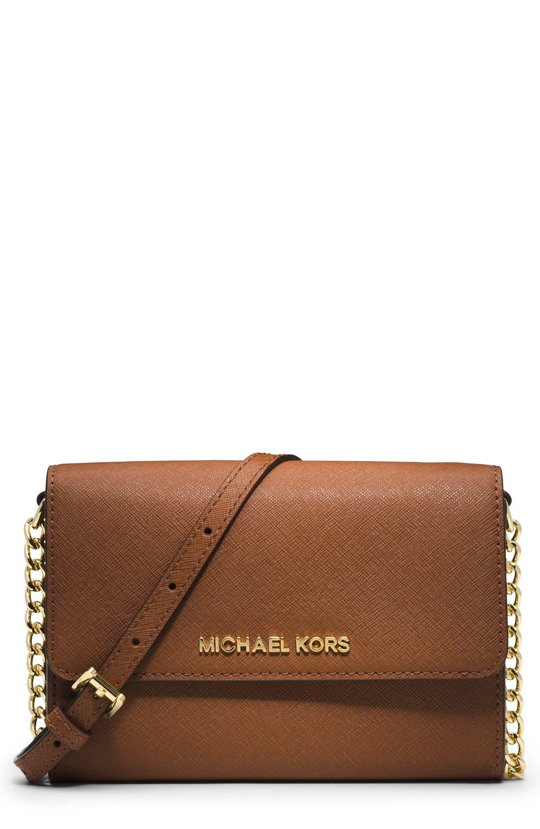 Alternate Image 1 Selected - MICHAEL Michael Kors 'Jet Set - Large Phone' Saffiano Leather Crossbody Bag
