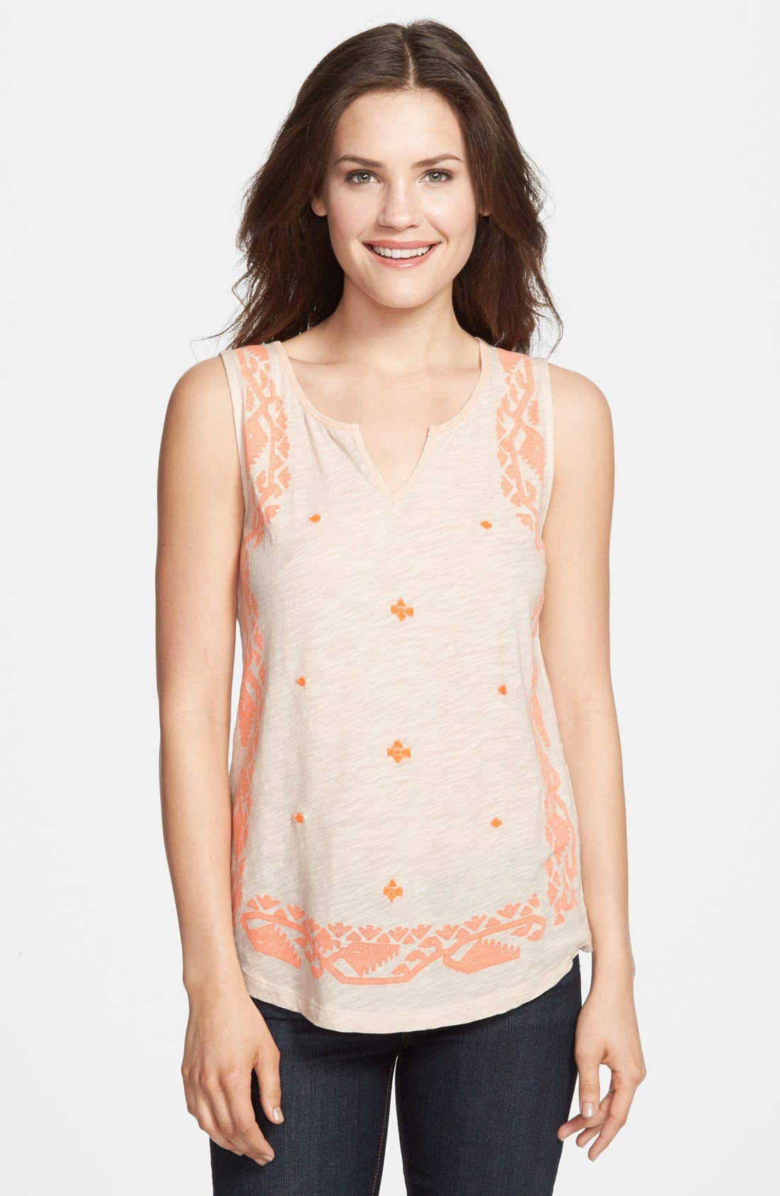 Alternate Image 1 Selected - Lucky Brand 'Neon Border' Tank