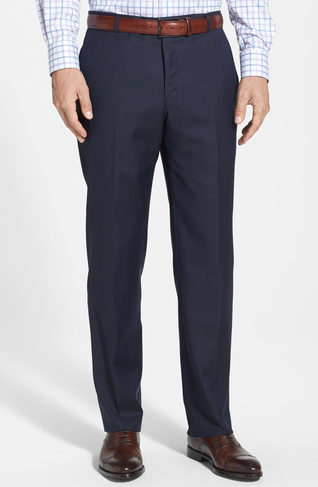 Alternate Image 4  - Hickey Freeman Classic Fit Navy Stripe Suit
