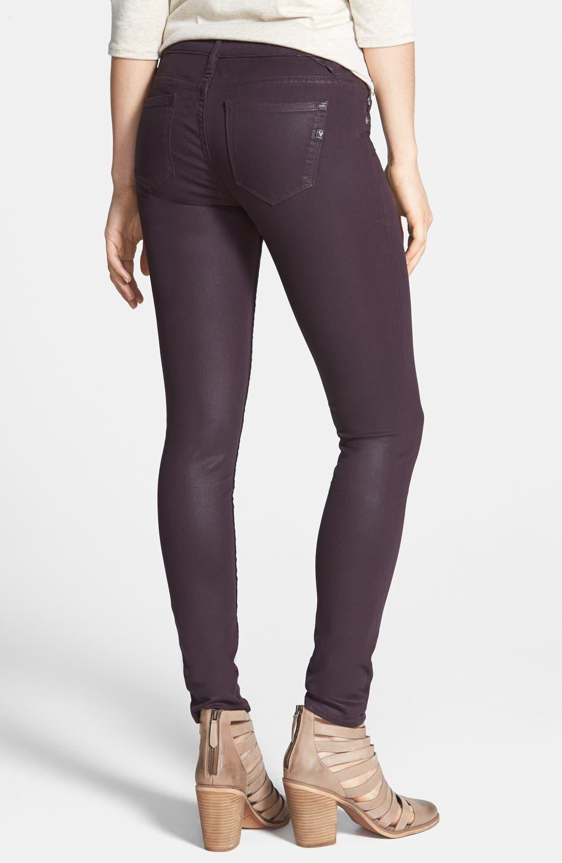 Alternate Image 2  - Vigoss Coated Skinny Jeans (Eggplant) (Juniors)