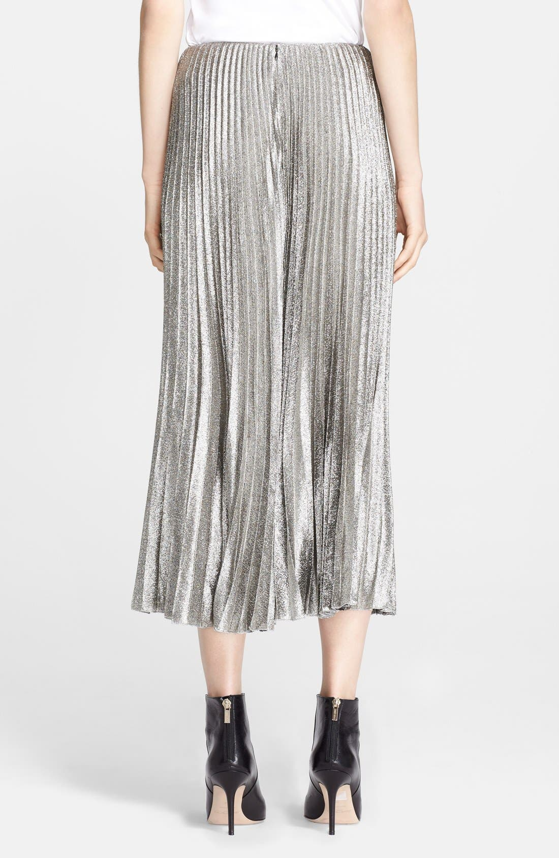 Alternate Image 2  - Cédric Charlier Pleat Crepe Lamé Midi Skirt