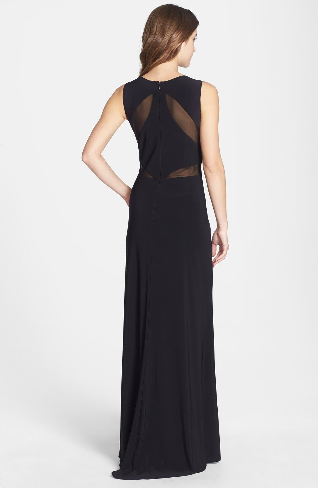 Alternate Image 2  - Betsy & Adam Mesh Detail Jersey Gown