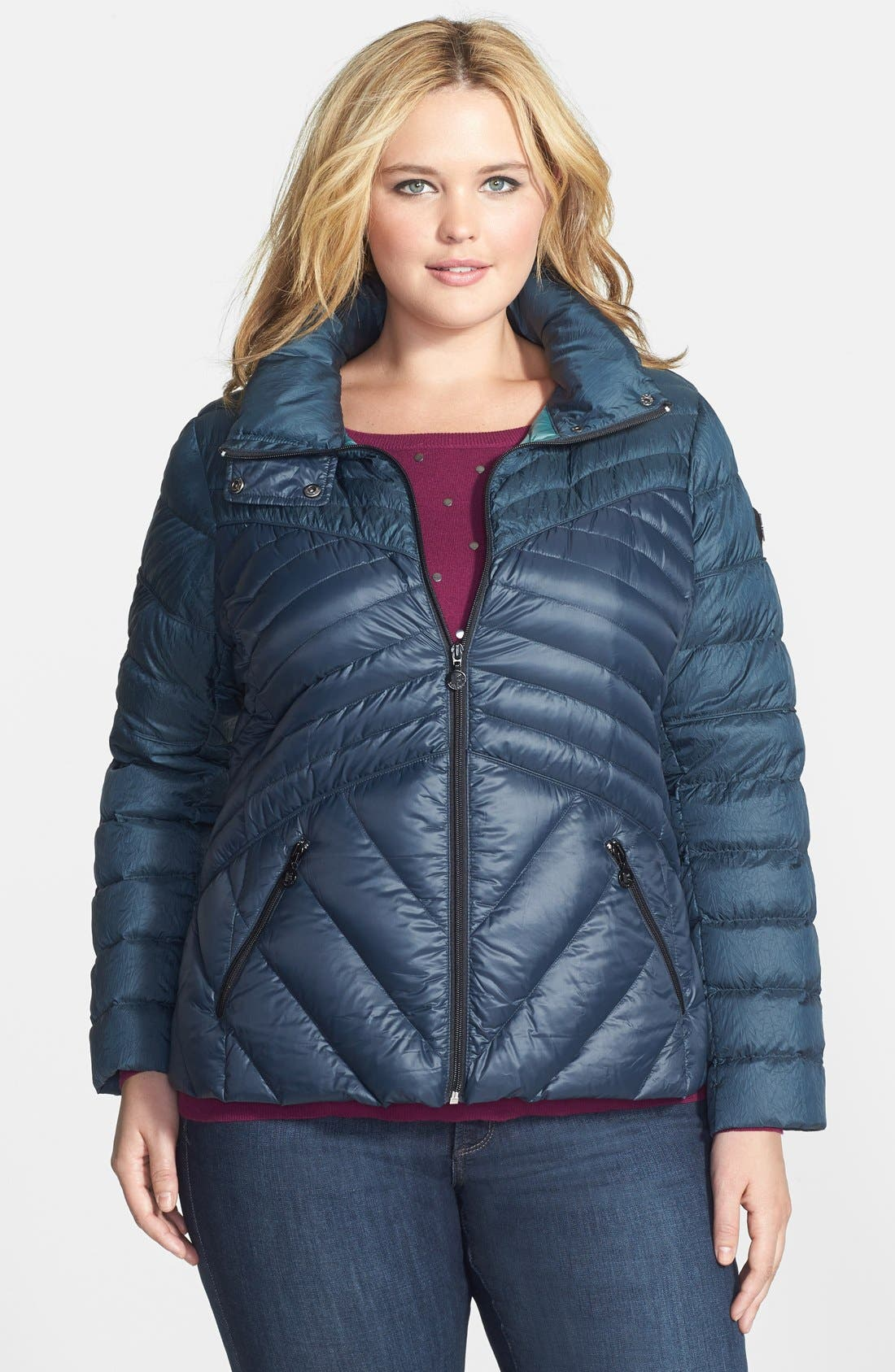 Main Image - Bernardo Two-Tone Packable Down Jacket (Plus Size)
