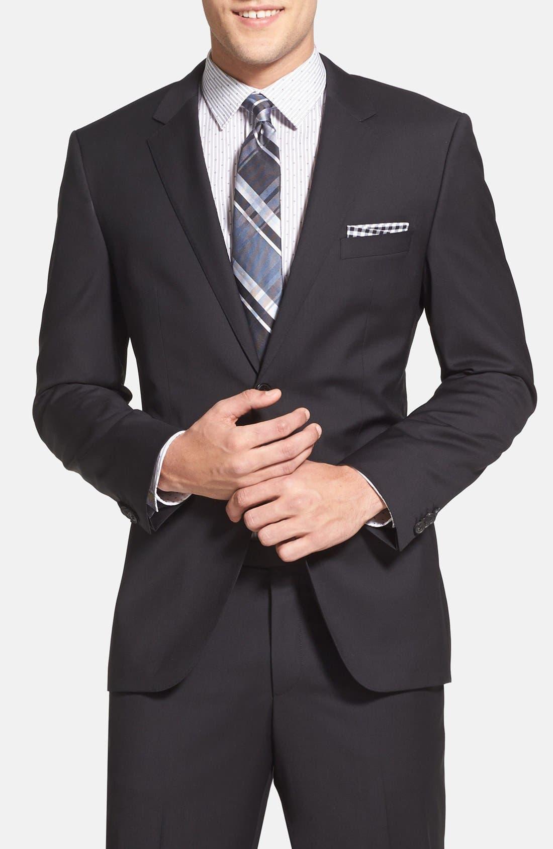 Alternate Image 3  - BOSS 'James/Sharp' Trim Fit Black Super 120s Wool Suit