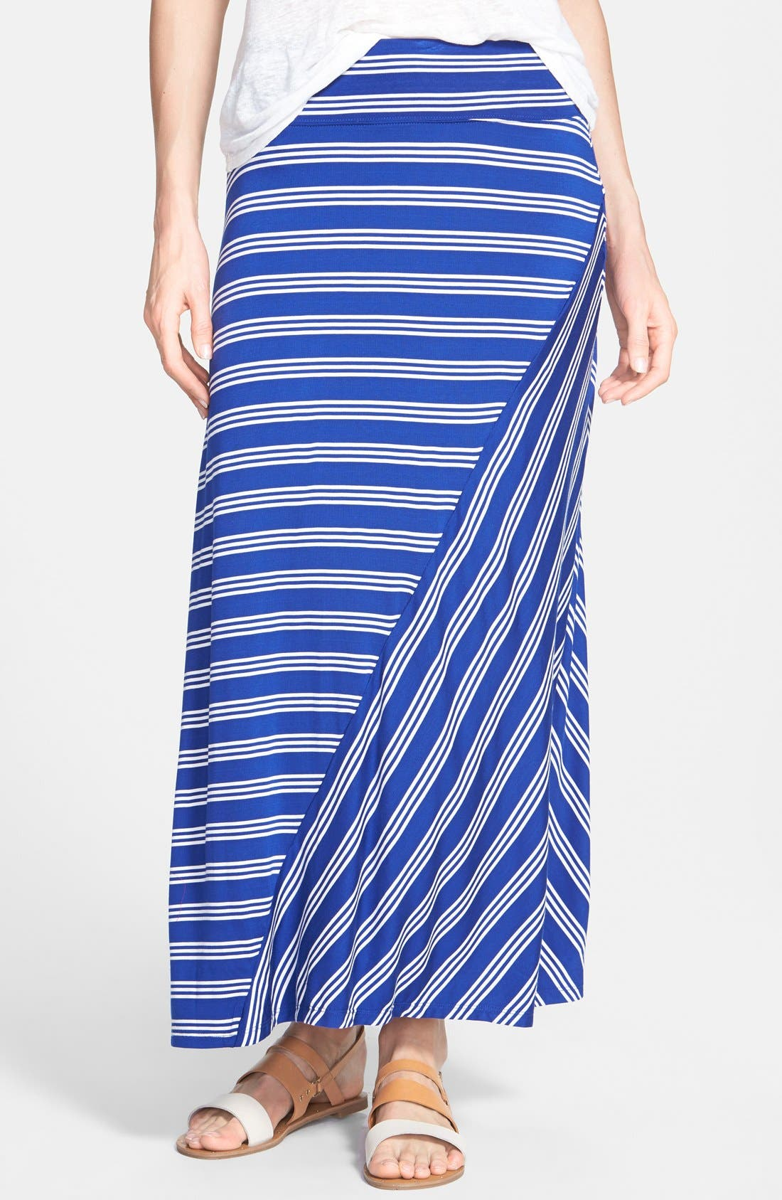 Main Image - kensie Stripe Stretch Knit Maxi Skirt