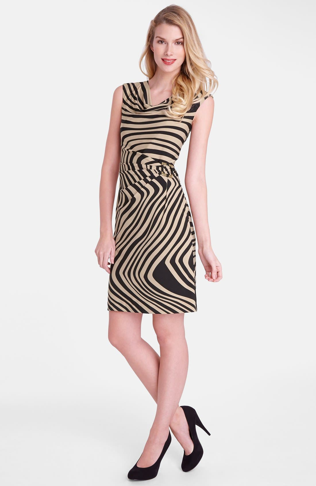 Alternate Image 3  - Tahari 'Wave' Print Cowl Neck Sheath Dress
