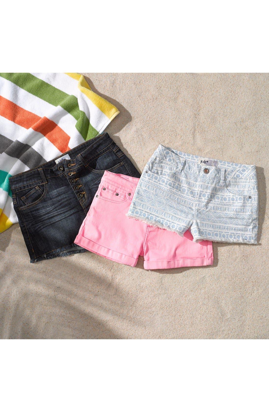 Alternate Image 4  - Jolt Button Fly High Waist Shorts (Dark) (Juniors)