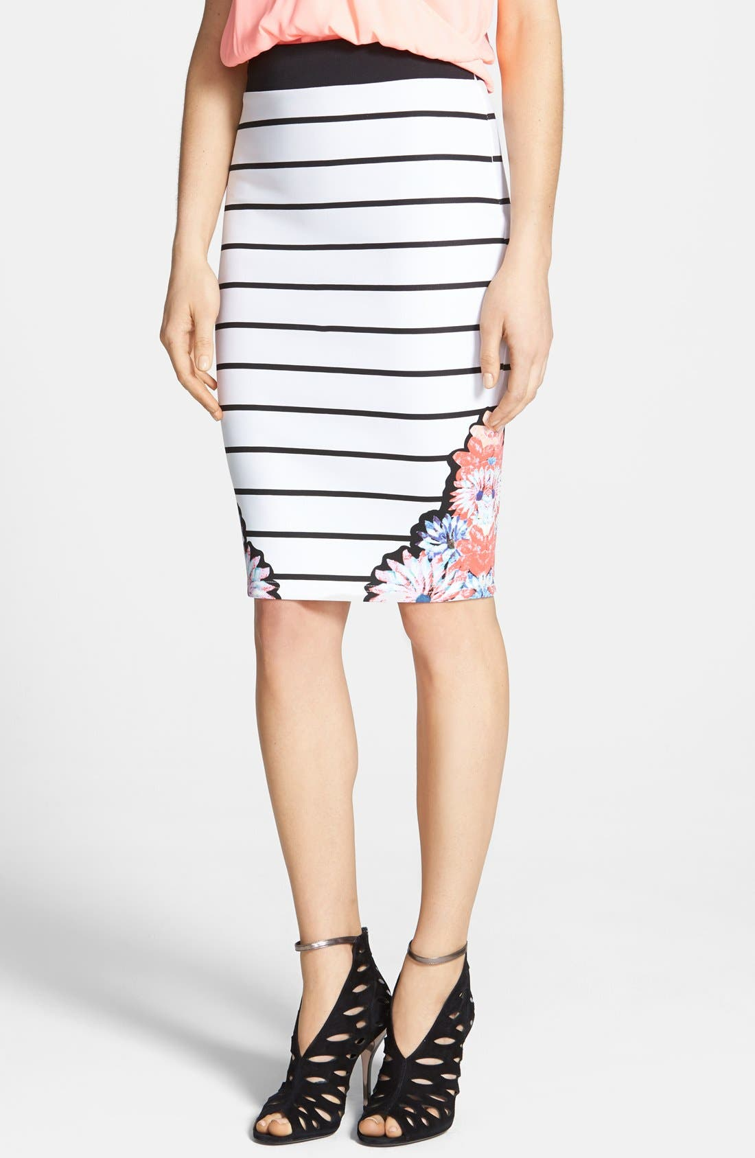Main Image - MINKPINK 'Fade into Daisies' Print Stripe Tube Skirt