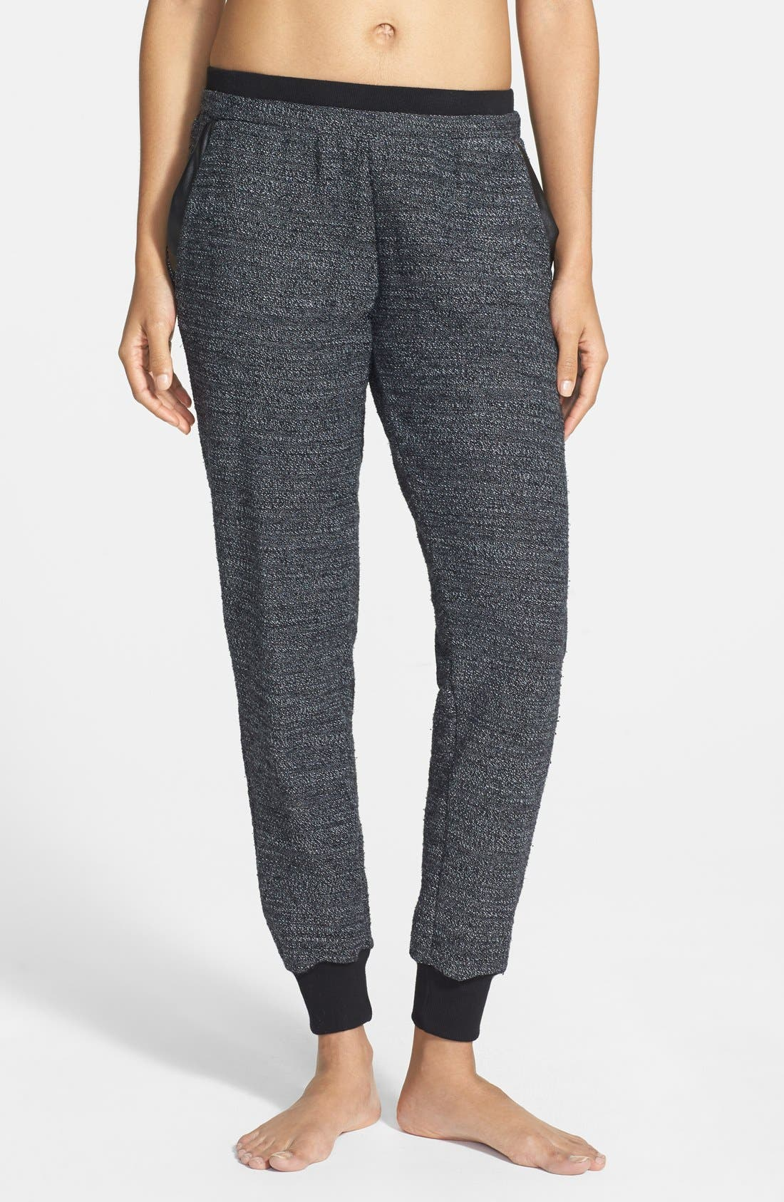 Main Image - Solow Faux Leather Trim Slouchy Pants (Online Only)