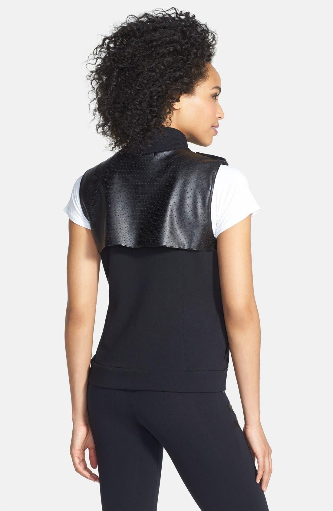 Alternate Image 2  - Solow Faux Leather Trim Fleece Vest (Online Only)