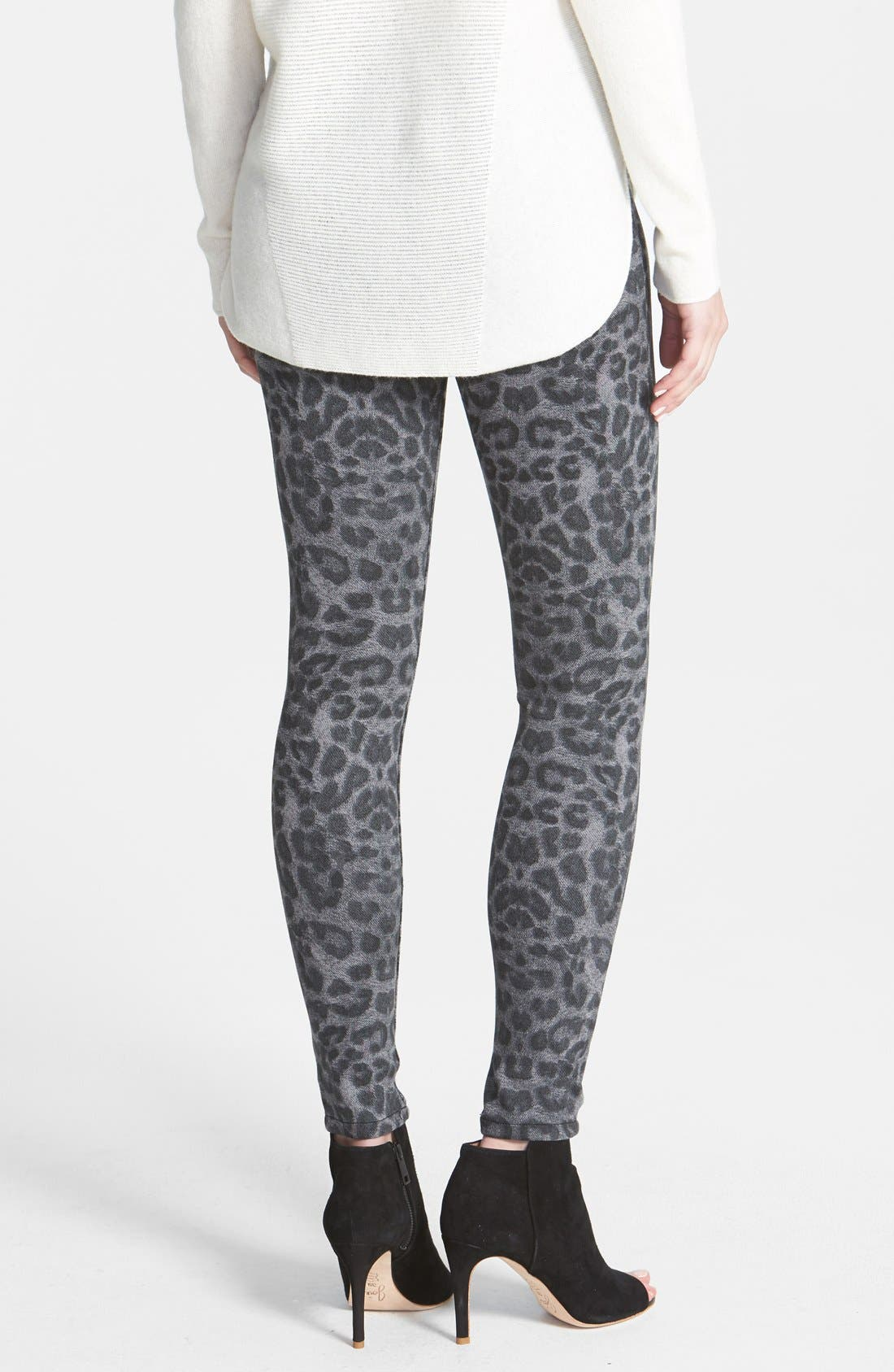 Alternate Image 2  - Hue Leopard Print Denim Leggings