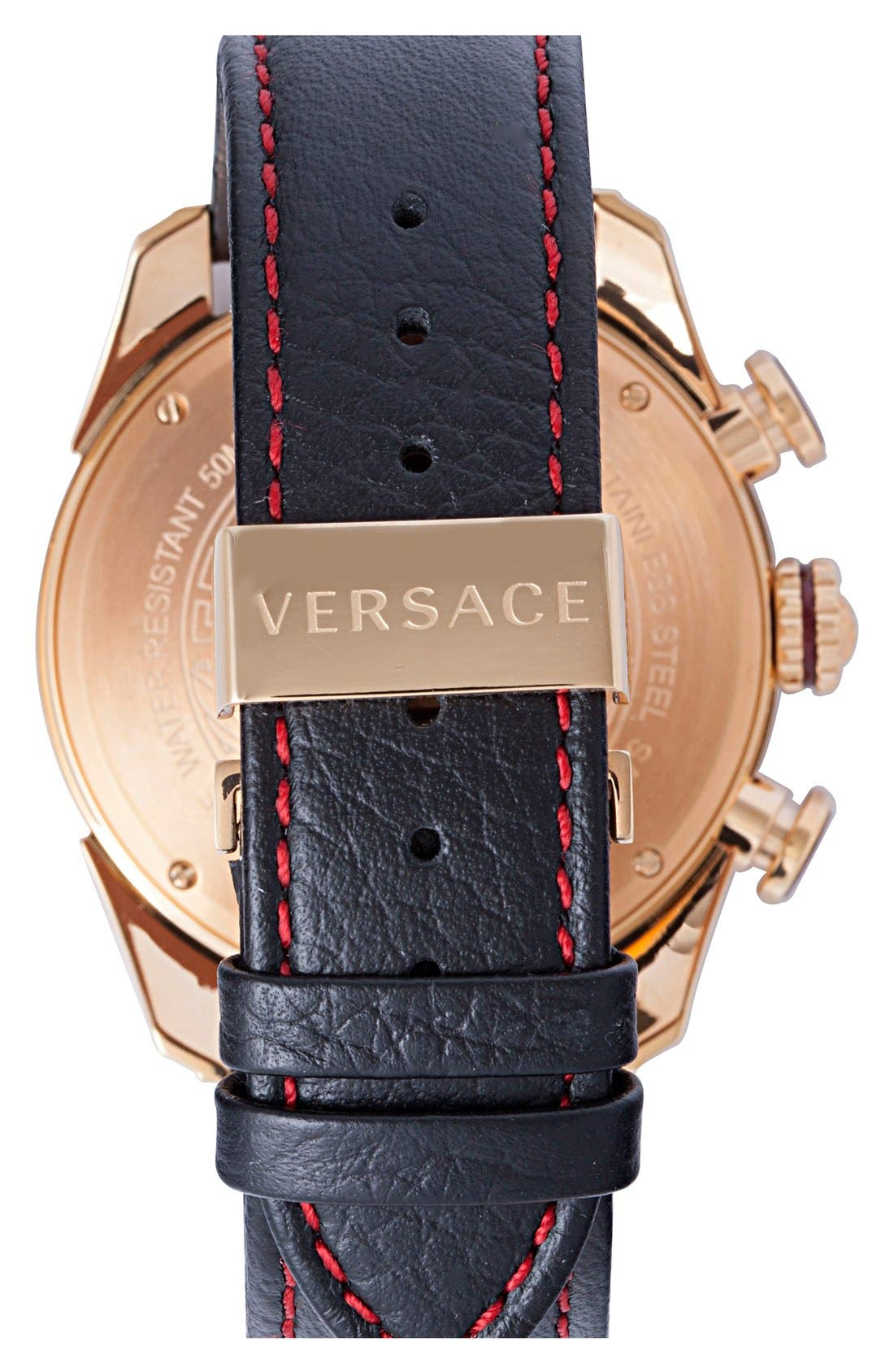 Alternate Image 2  - Versace 'V-Ray' Chronograph Leather Strap Watch, 44mm