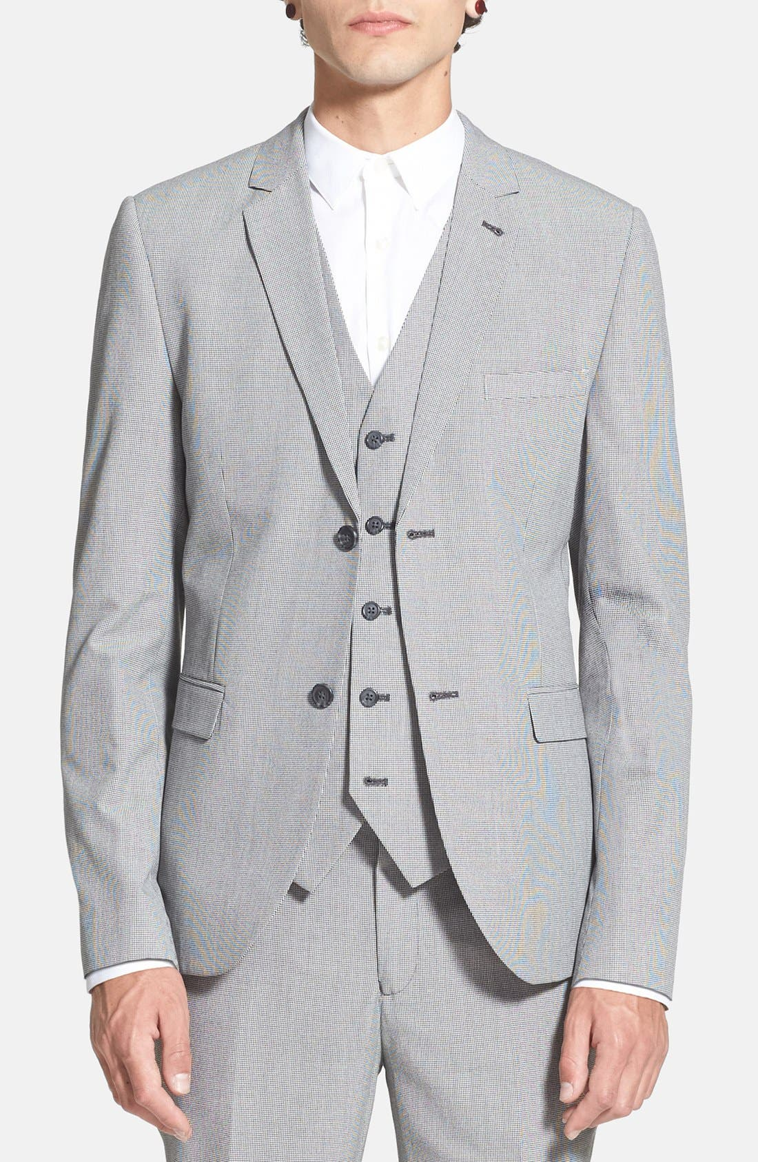 Alternate Image 1 Selected - Topman Skinny Fit Micro Houndstooth Suit Jacket