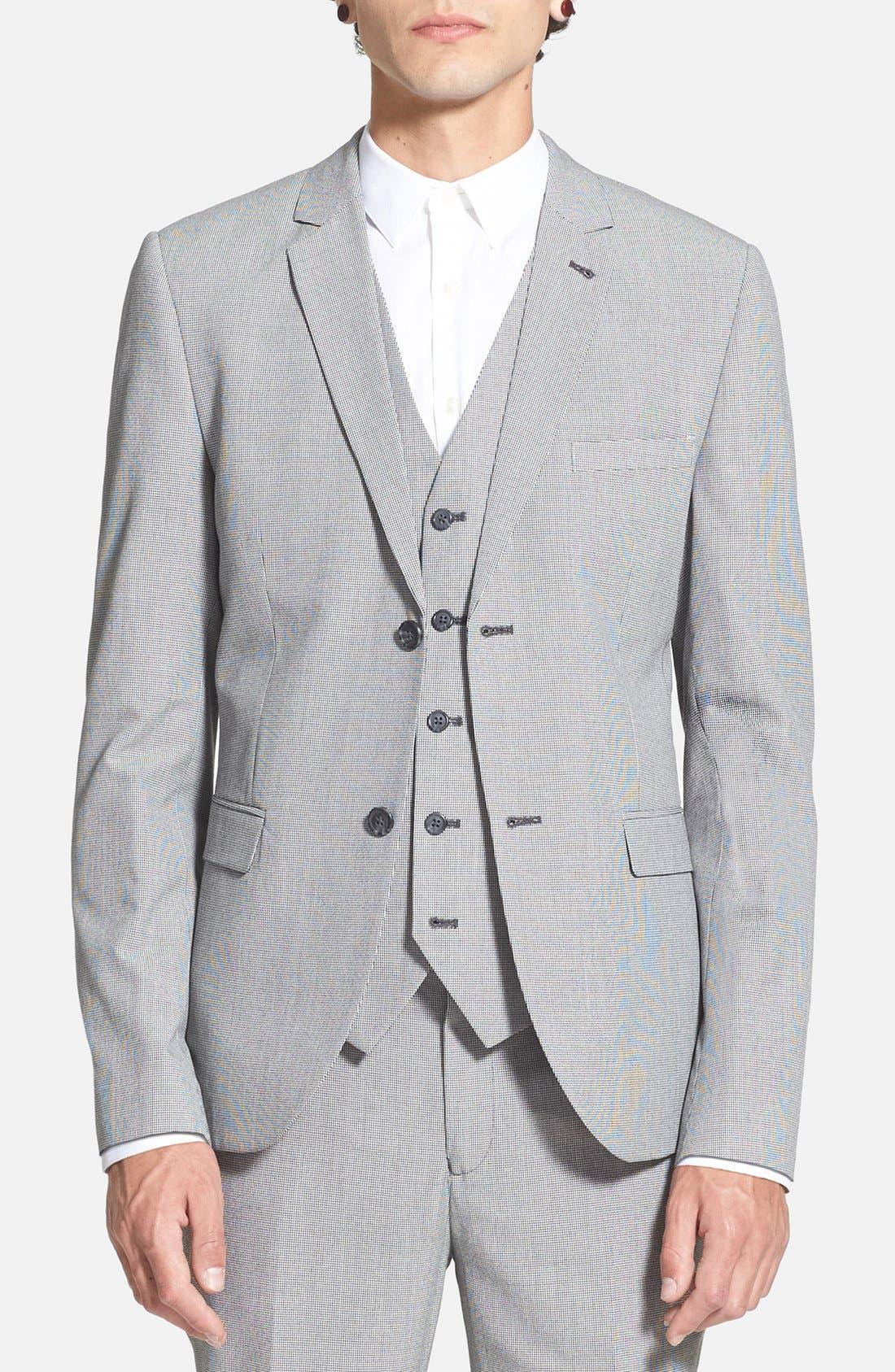 Main Image - Topman Skinny Fit Micro Houndstooth Suit Jacket