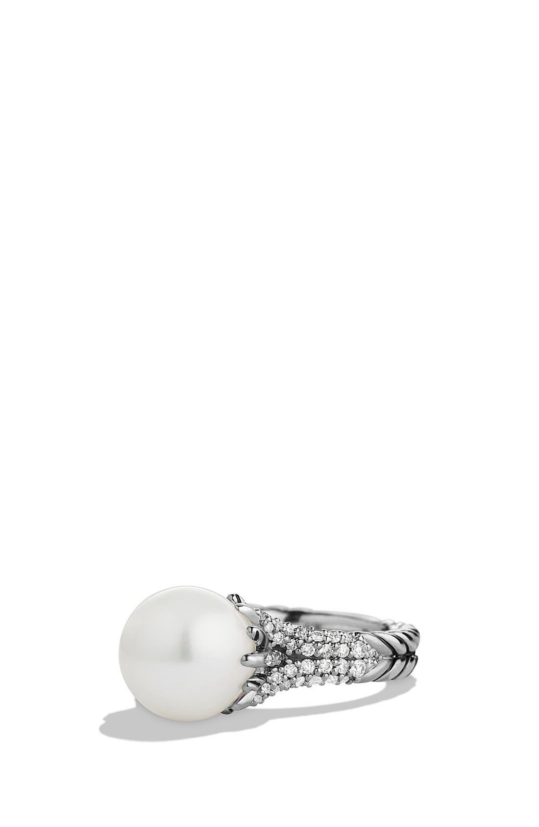 Alternate Image 1 Selected - David Yurman 'Starburst' Pearl Ring with Diamonds