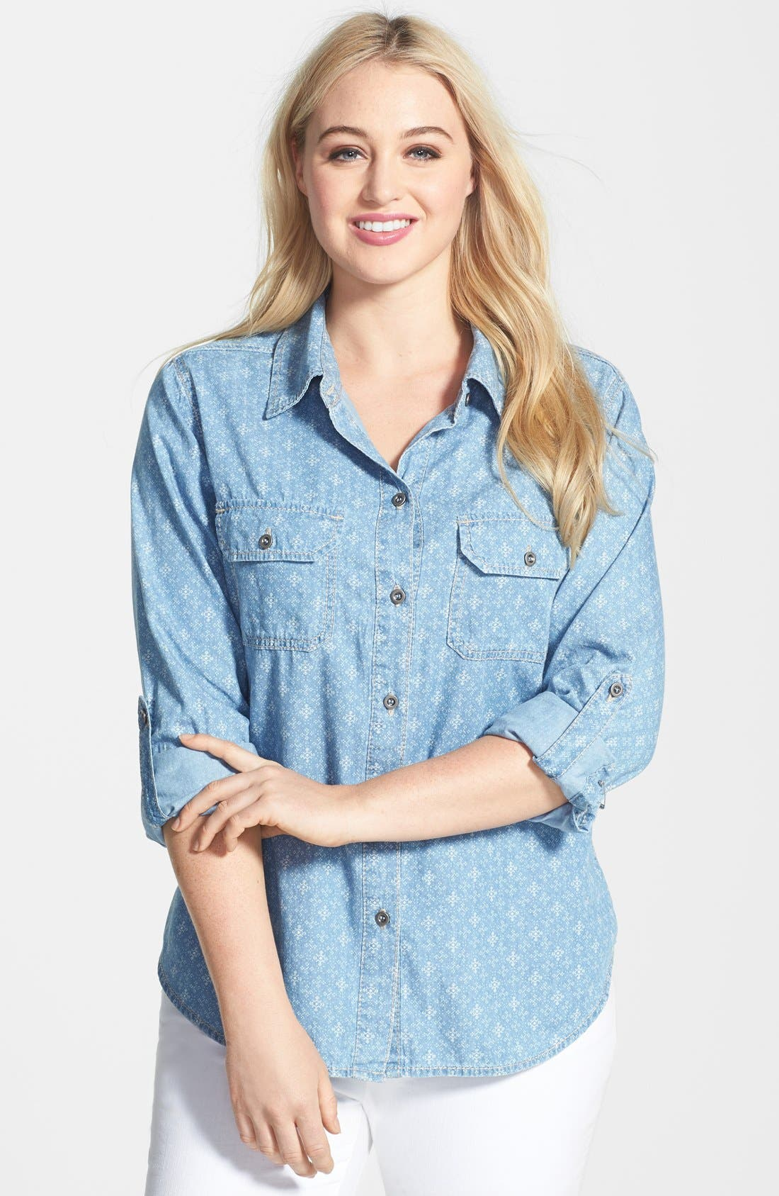 Alternate Image 1 Selected - Seven7 Print Roll Sleeve Denim Shirt (Plus Size)