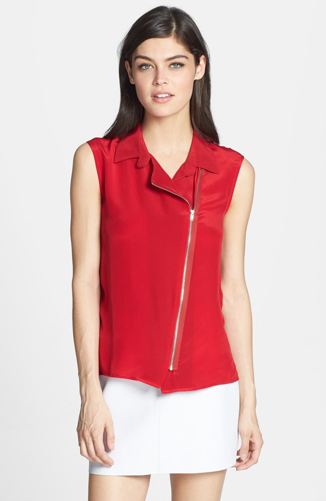 Alternate Image 1 Selected - Bailey 44 'First and Ten' Zip Silk Front Top