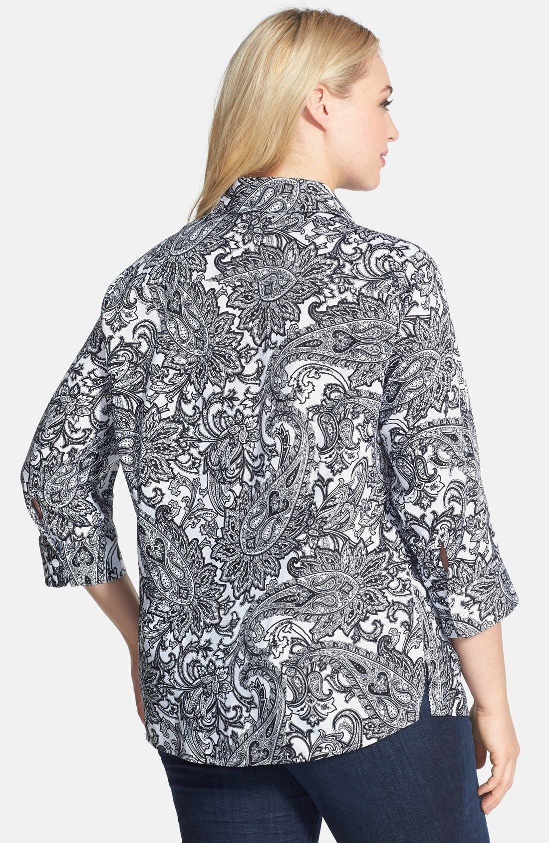Alternate Image 2  - Foxcroft 'Santorini' Paisley Print Wrinkle Free Cotton Shirt (Plus Size)