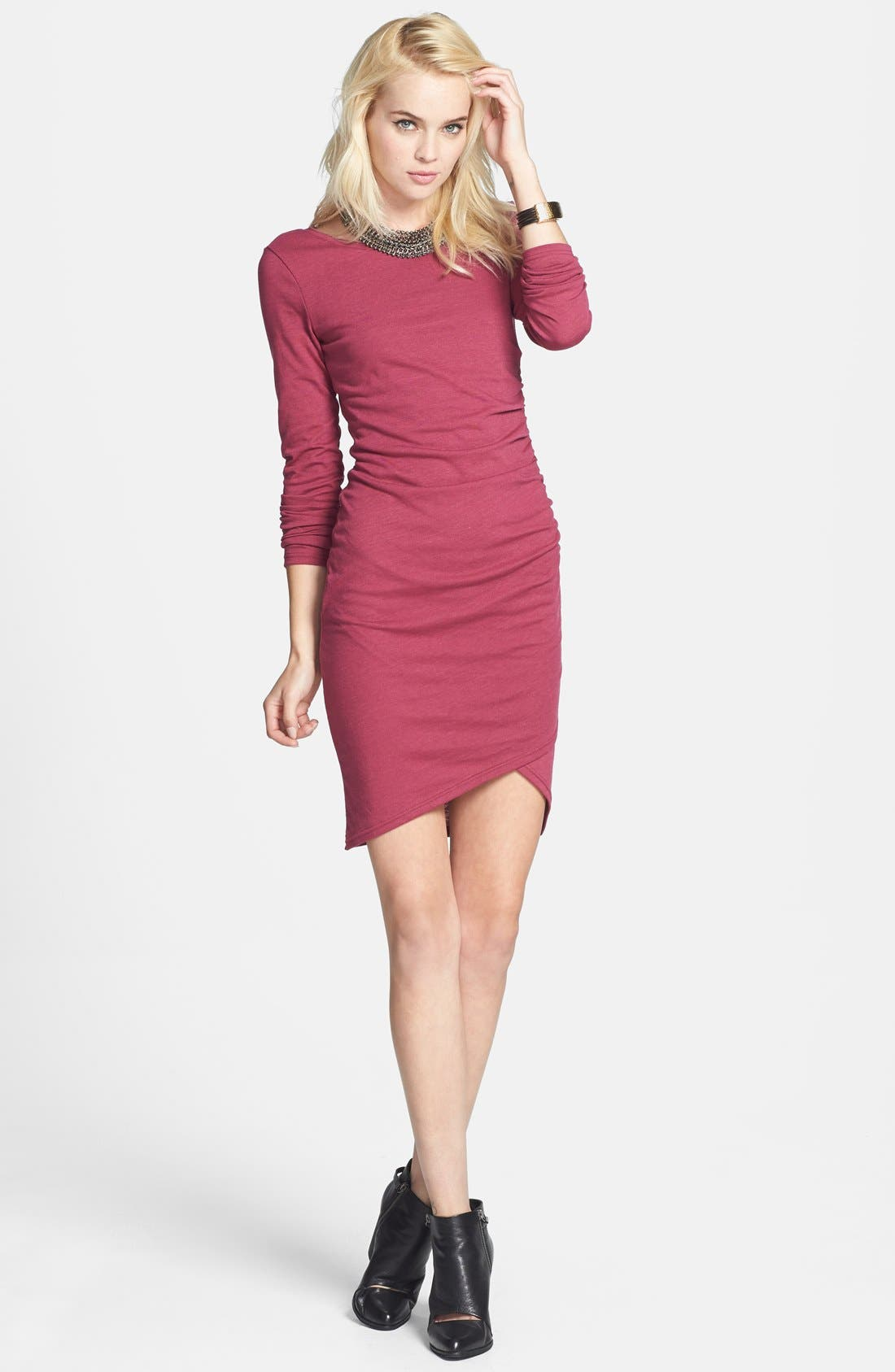 Alternate Image 1 Selected - Leith Ruched Long Sleeve Dress (Nordstrom Online Exclusive)