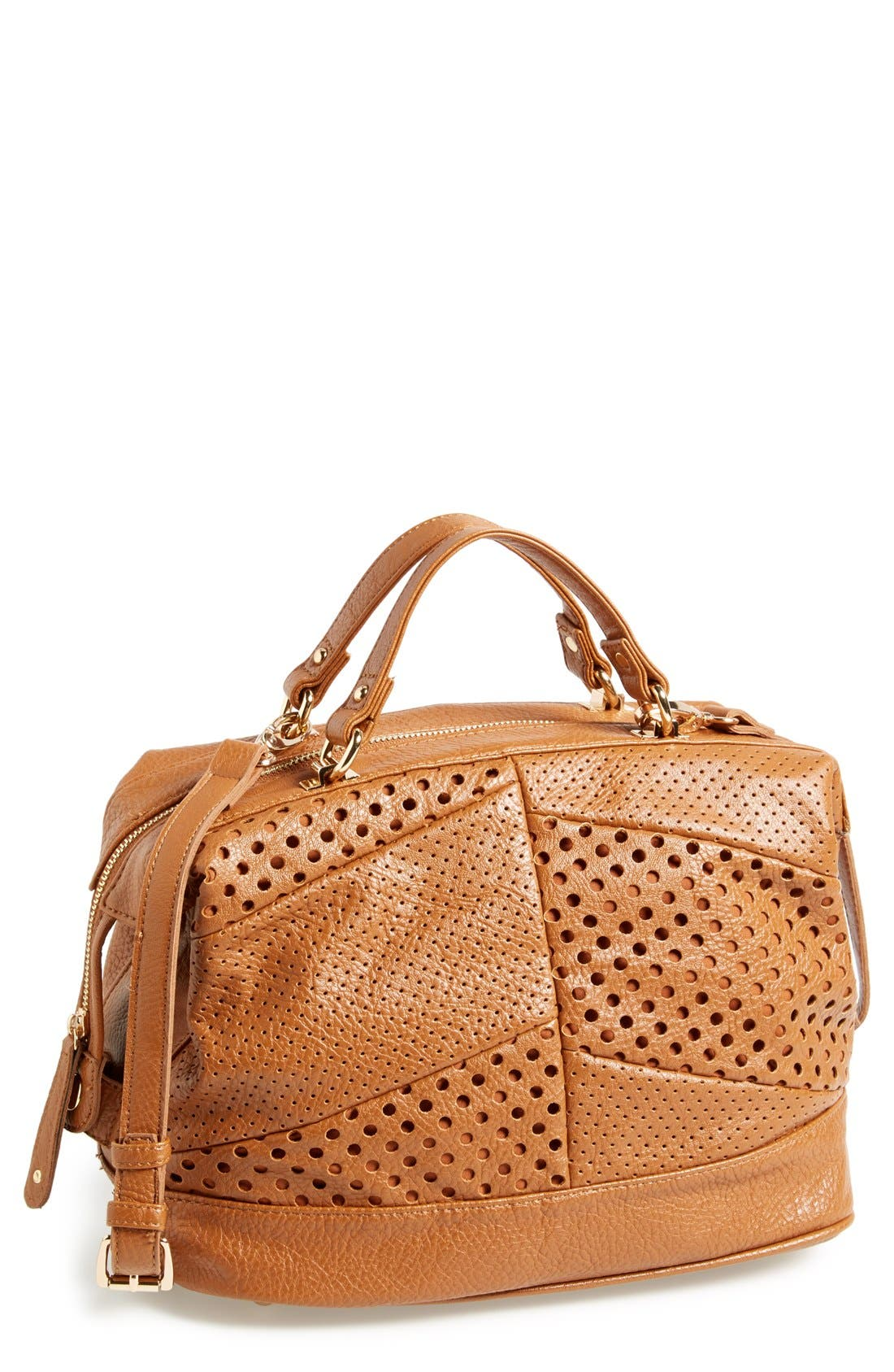 Main Image - Sole Society 'Patchwork' Perforated Faux Leather Satchel