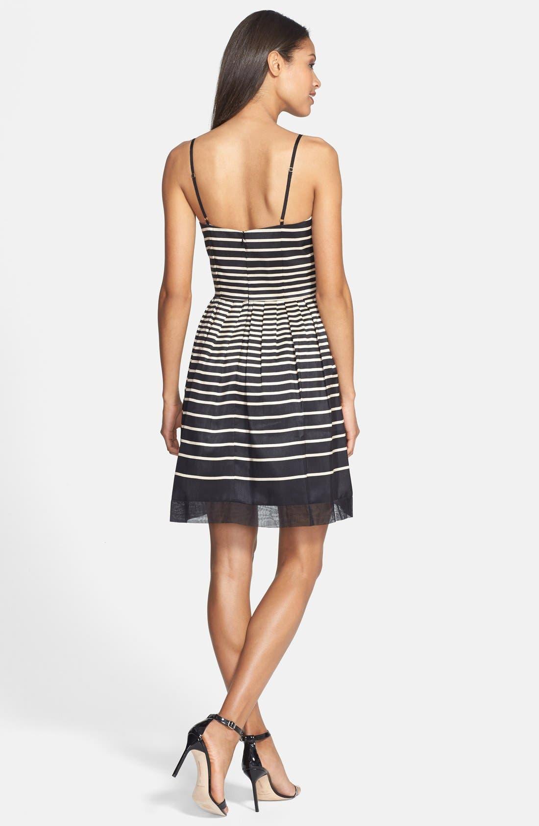 Alternate Image 2  - Taylor Dresses Stripe Shantung Fit & Flare Dress